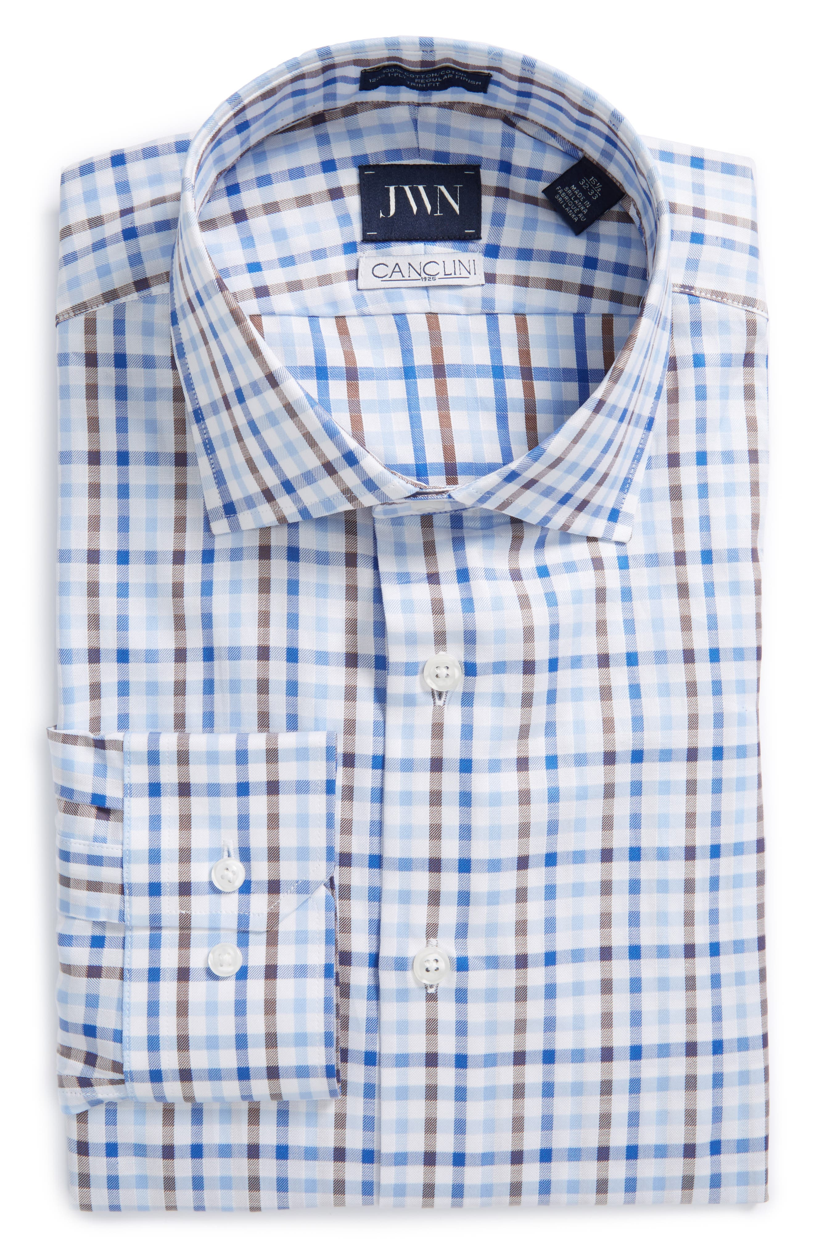 John W. Nordstrom® Trim Fit Check Dress Shirt