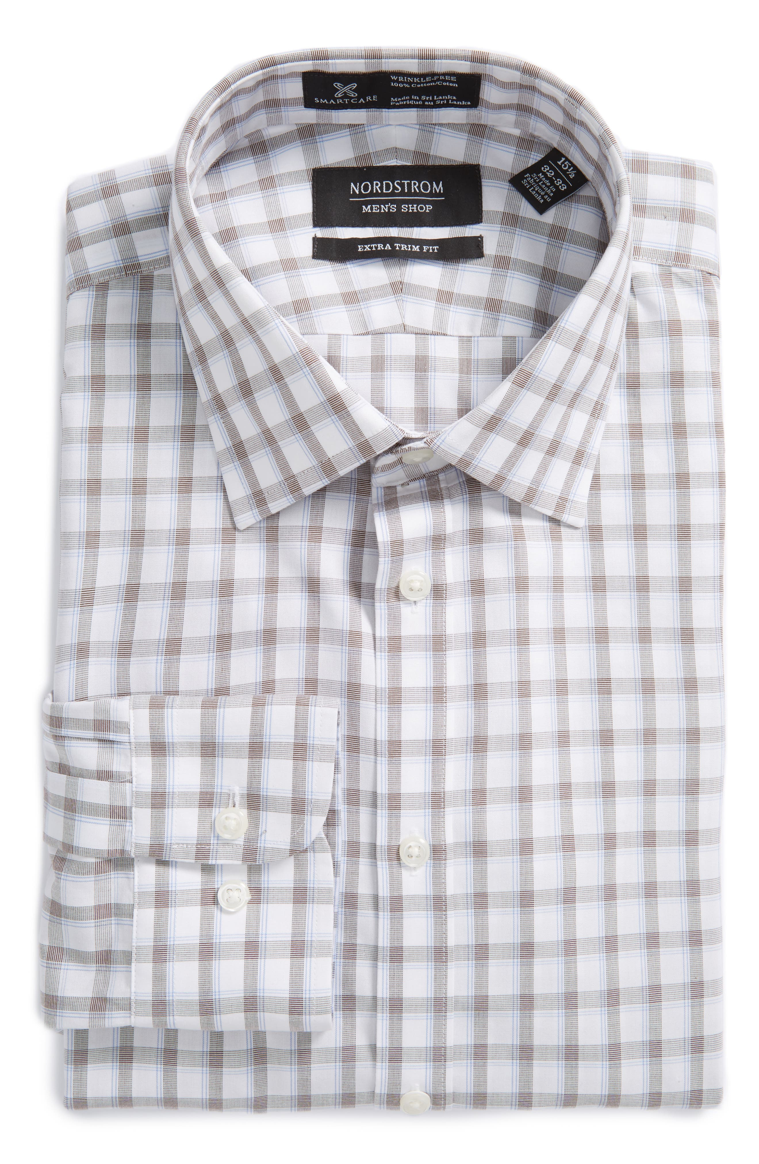 Nordstrom Men's Shop Smartcare™ Extra Trim Fit Plaid Dress Shirt
