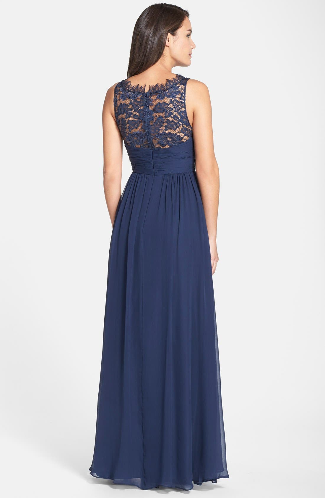 Alternate Image 2  - Aidan Mattox Embellished Lace & Silk Chiffon Gown (Online Only)
