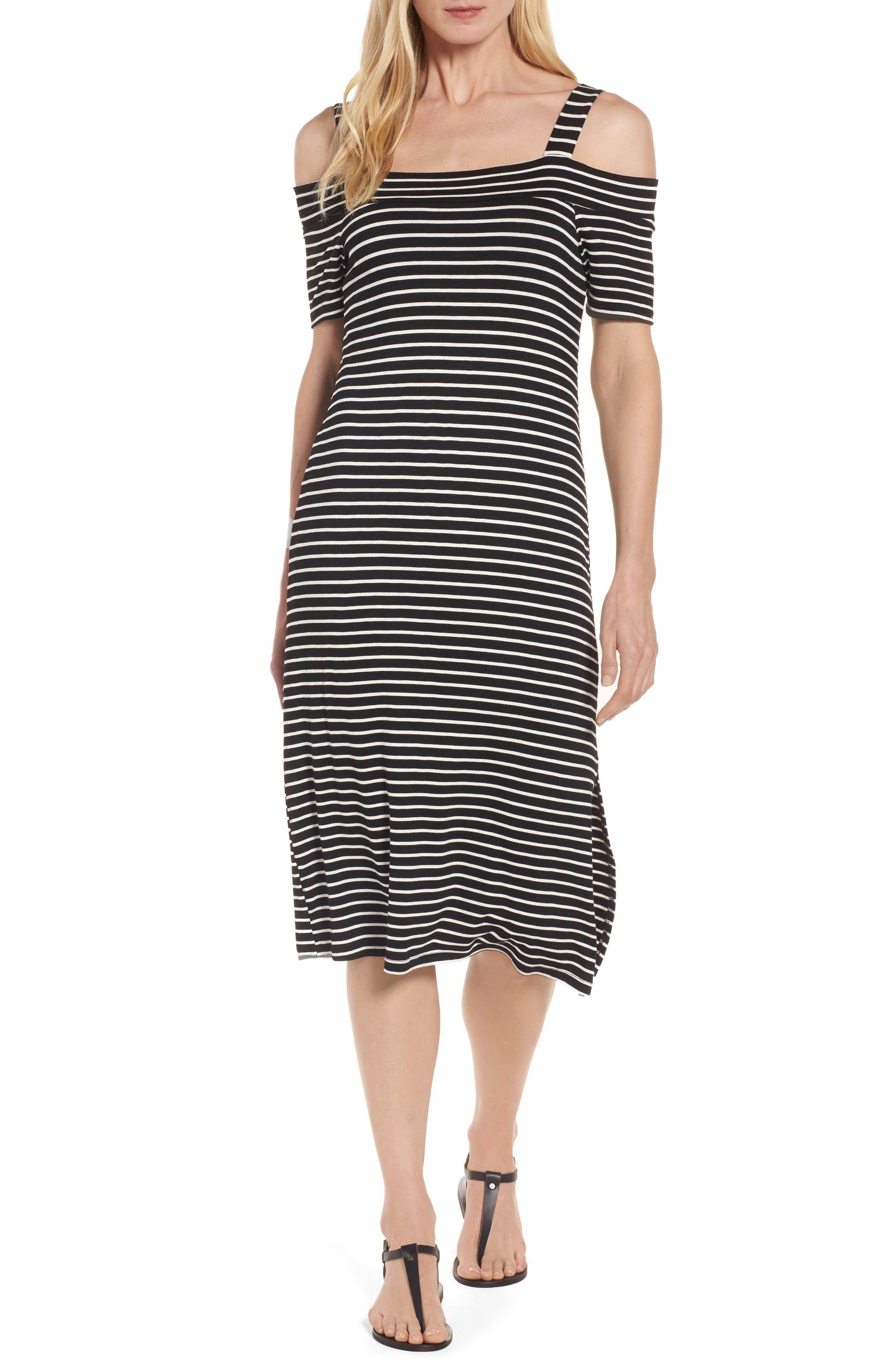 Bobeau Off the Shoulder Stripe A-Line Dress