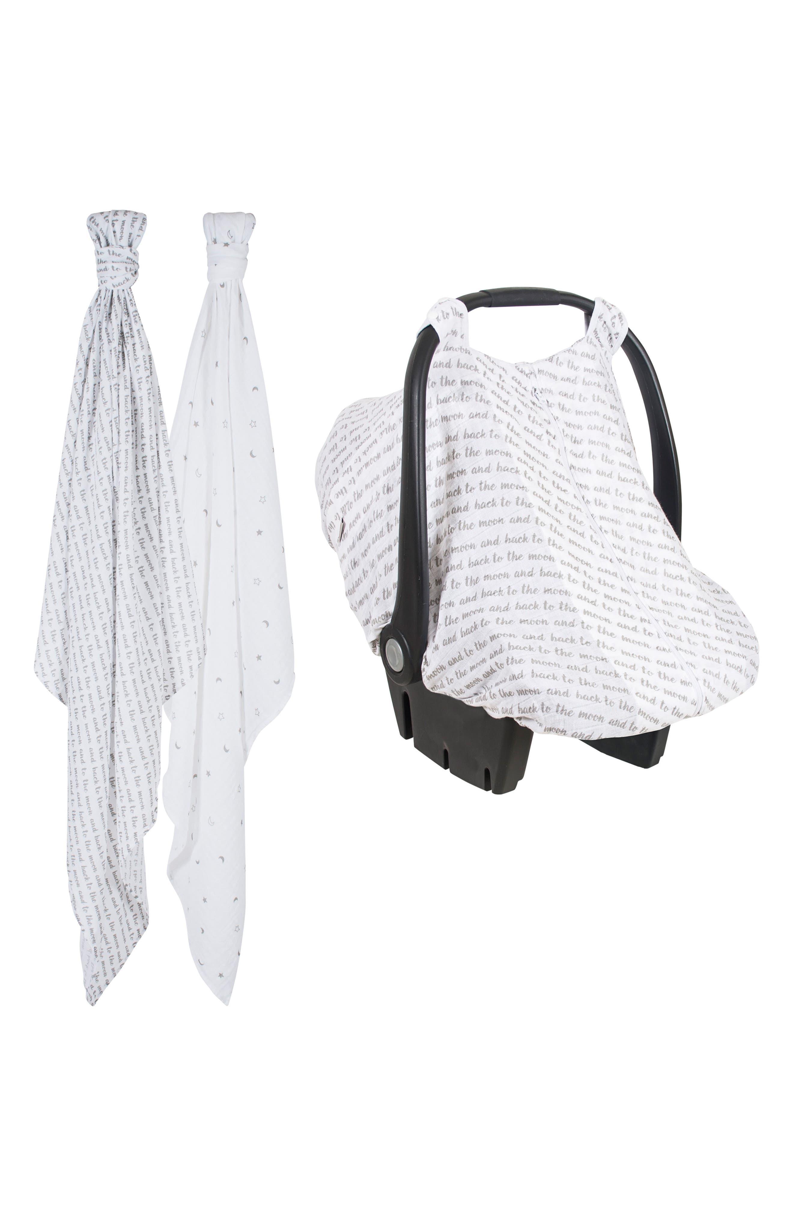 Bébé au Lait 2-Pack Muslin Swaddling Cloths & Car Seat Cover Set