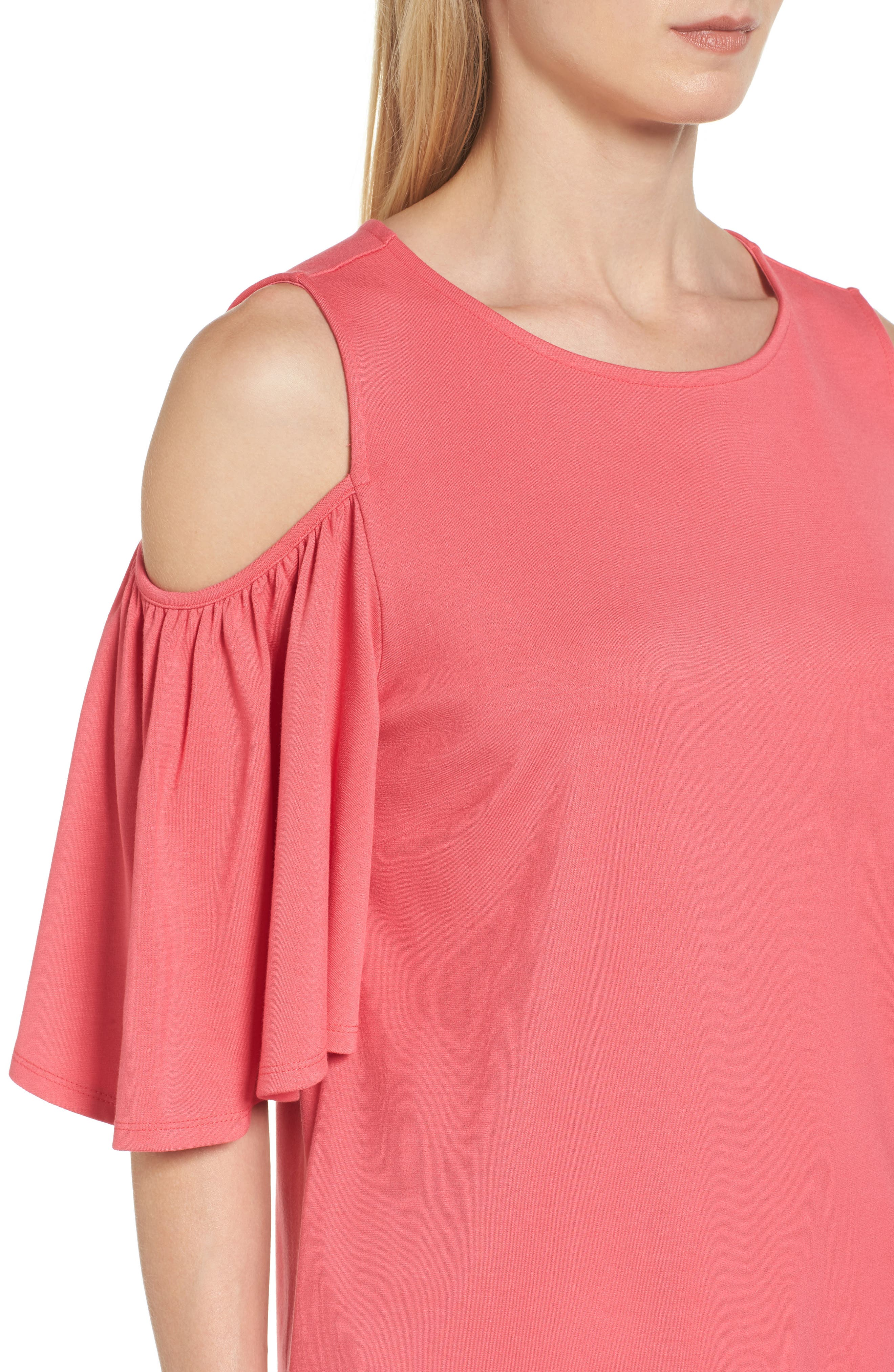 Alternate Image 4  - Halogen® Knit Cold Shoulder Top (Regular & Petite)