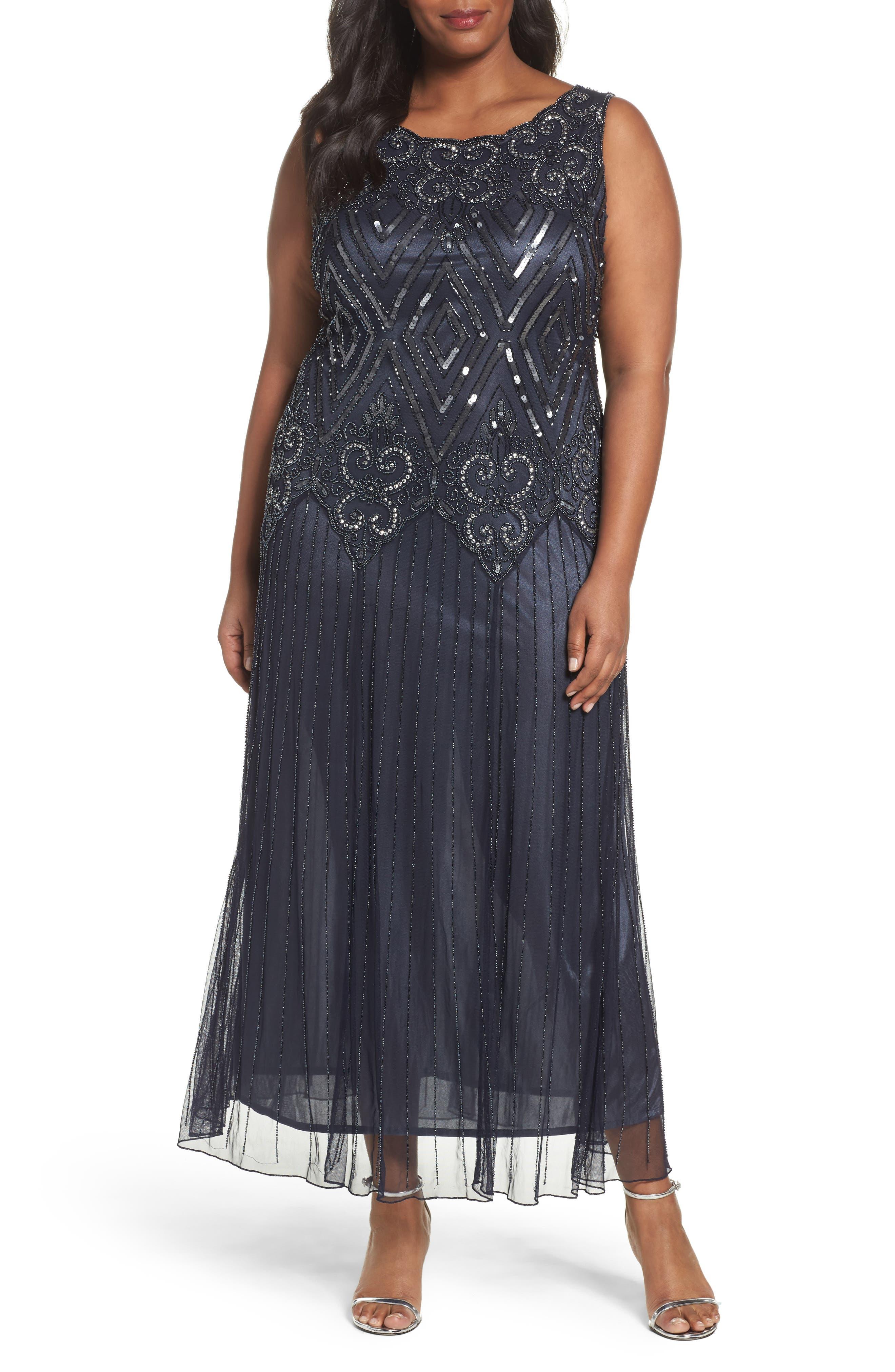 Pisarro Nights Beaded Chiffon Gown (Plus Size)