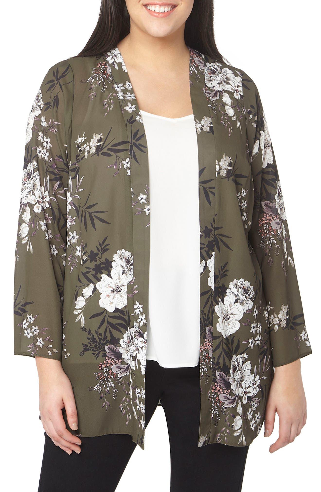 Main Image - Evans Floral Print Kimono (Plus Size)