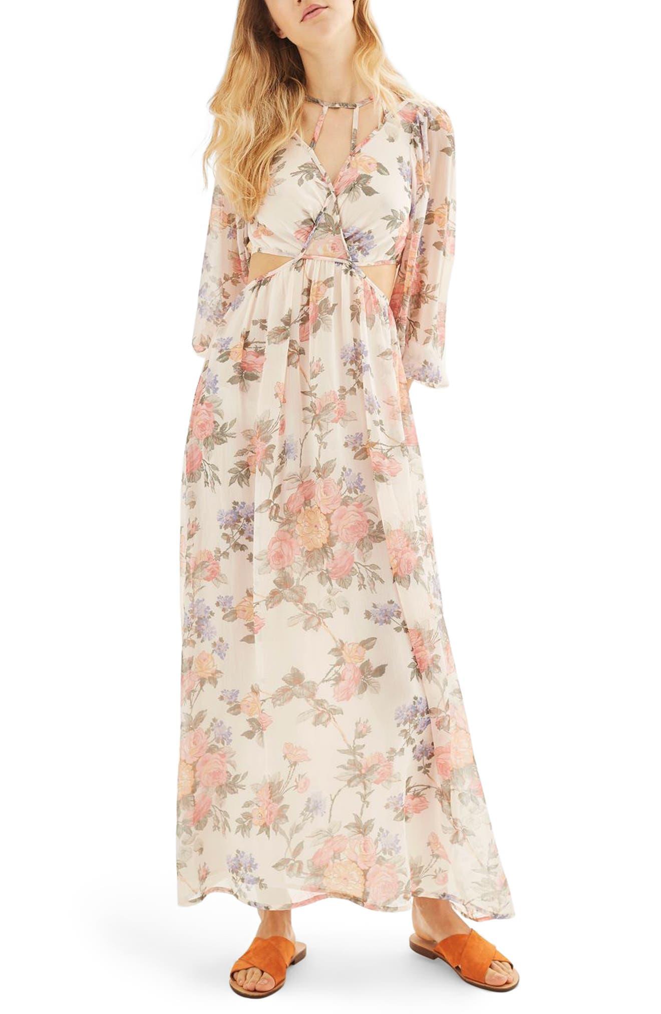Topshop Crinkle Floral Maxi Dress
