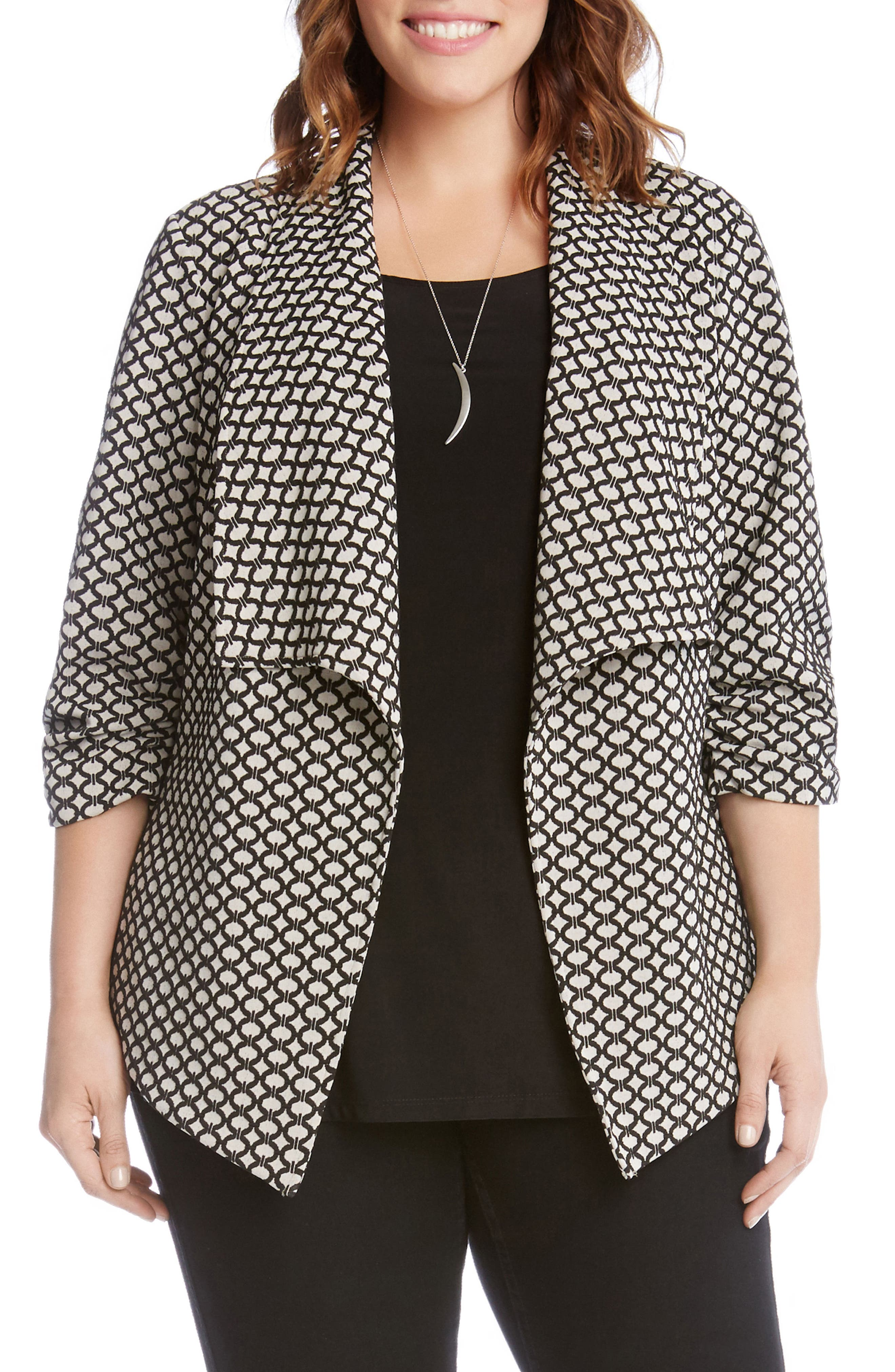Karen Kane Ruched Sleeve Jacquard Jacket (Plus Size)