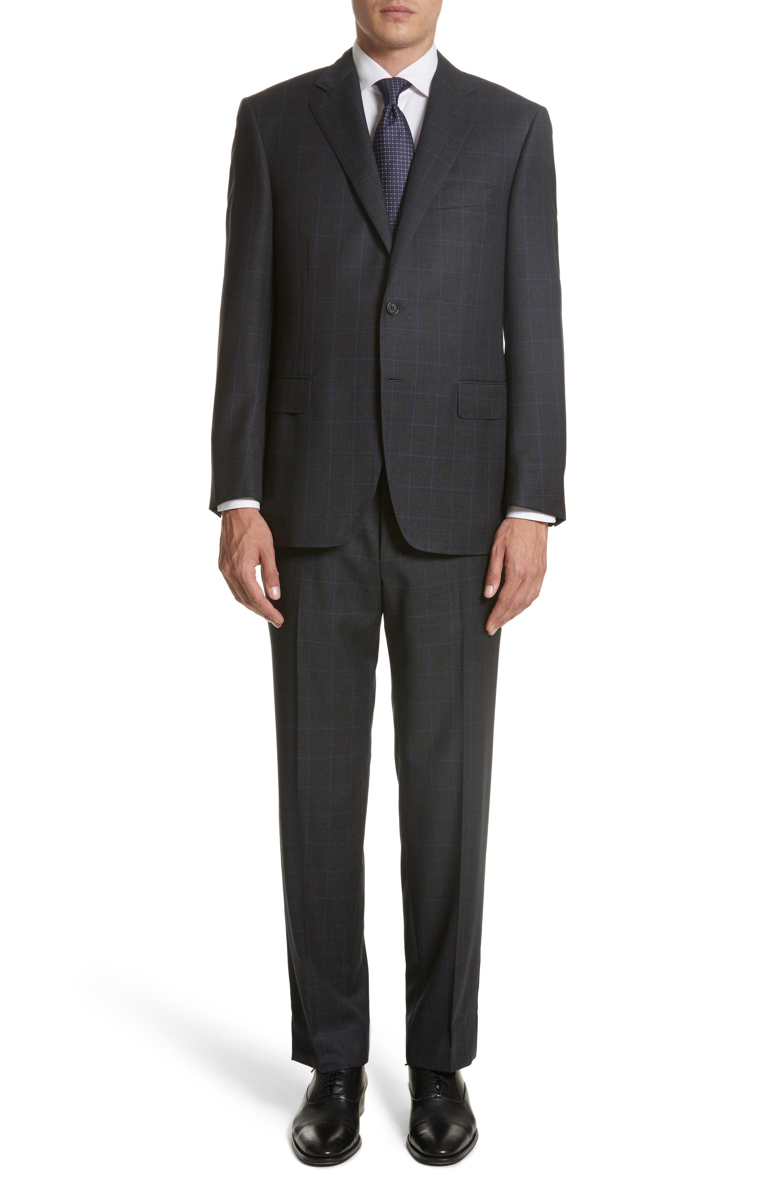Canali Classic Fit Windowpane Wool Suit (Regular & Big)