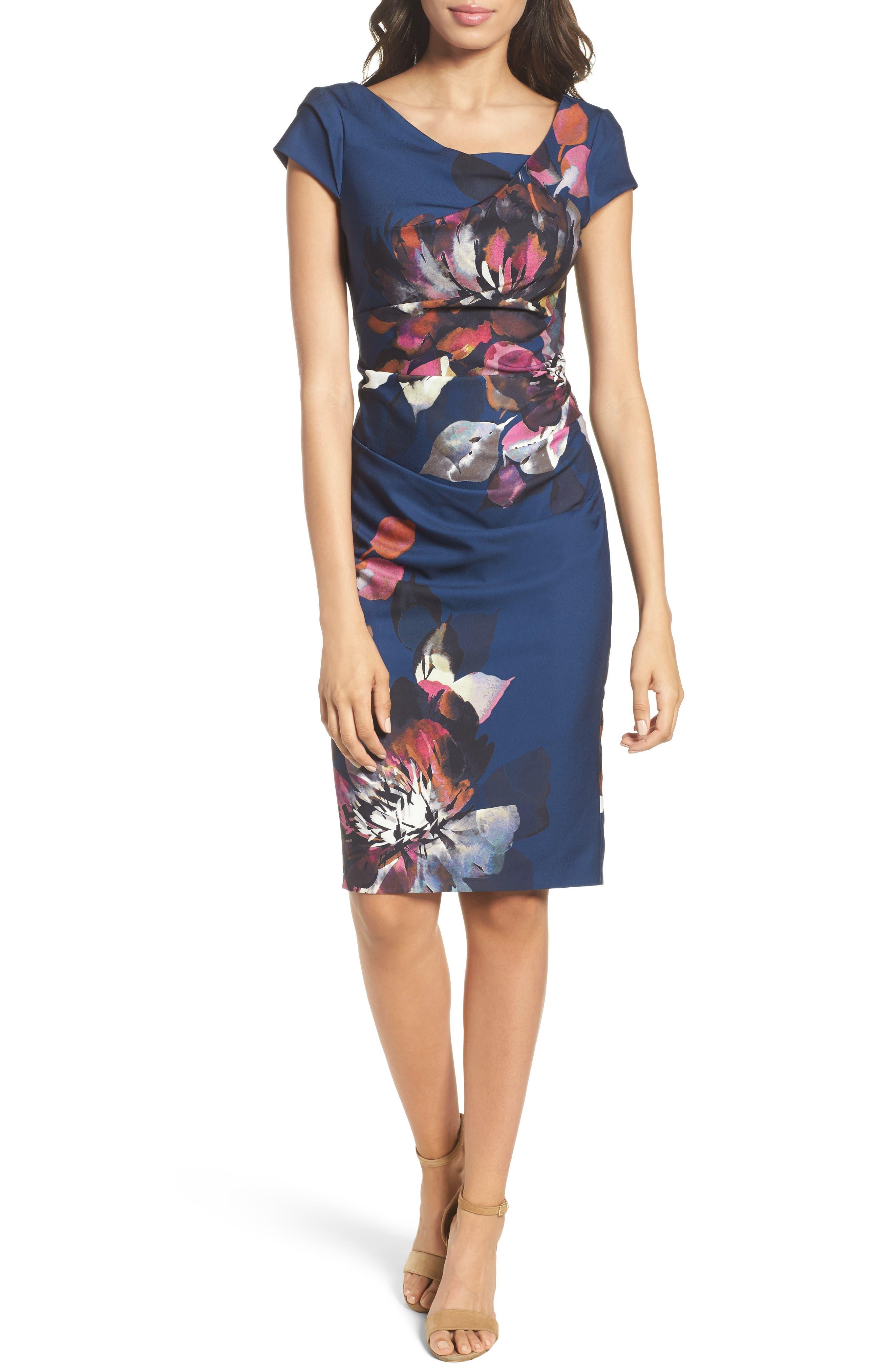 Adrianna Papell Magnolia Cowl Neck Sheath Dress