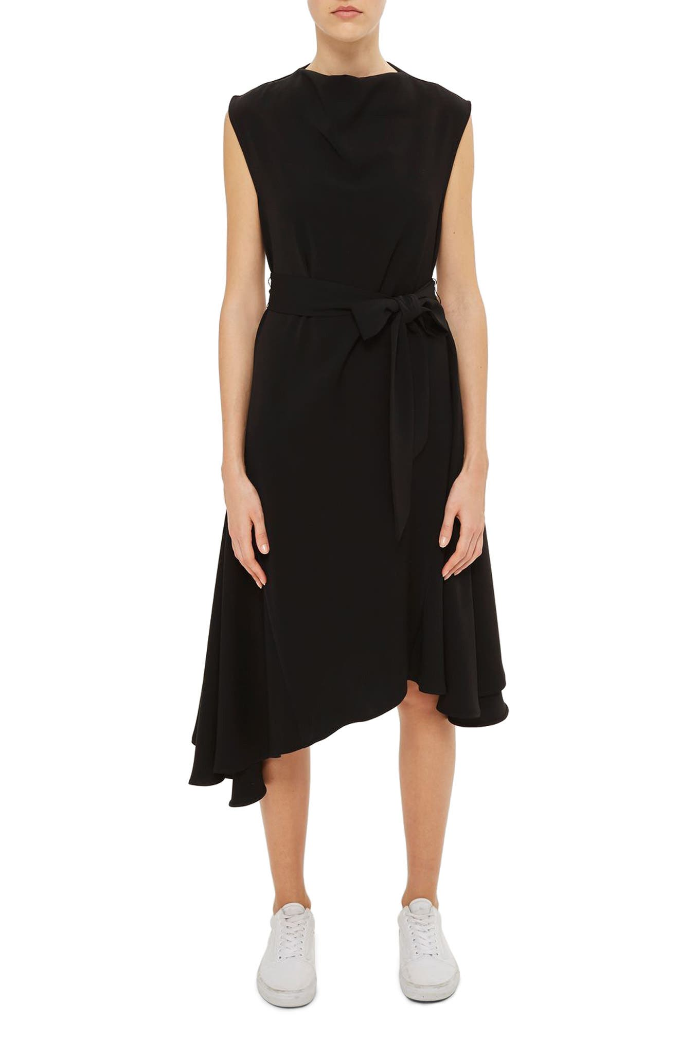 Topshop Boutique Belted Godet Midi Dress