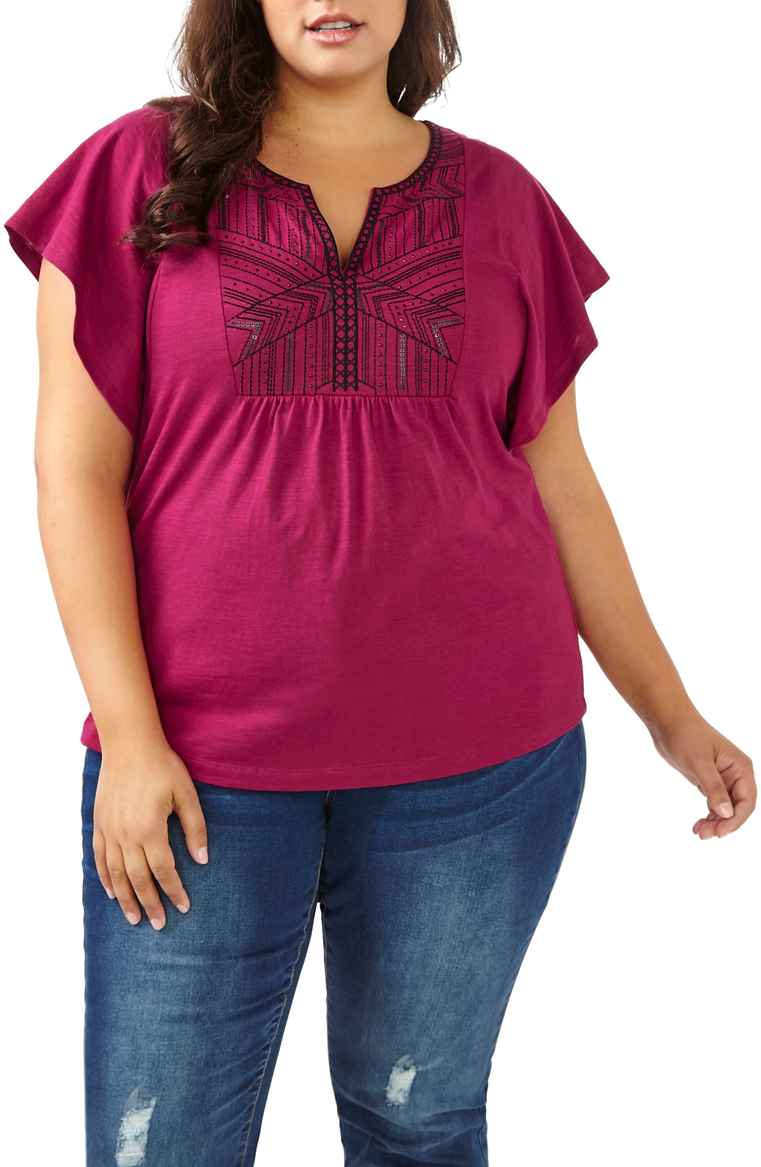 ADDITION ELLE LOVE AND LEGEND Embellished Flutter Sleeve Top (Plus Size)