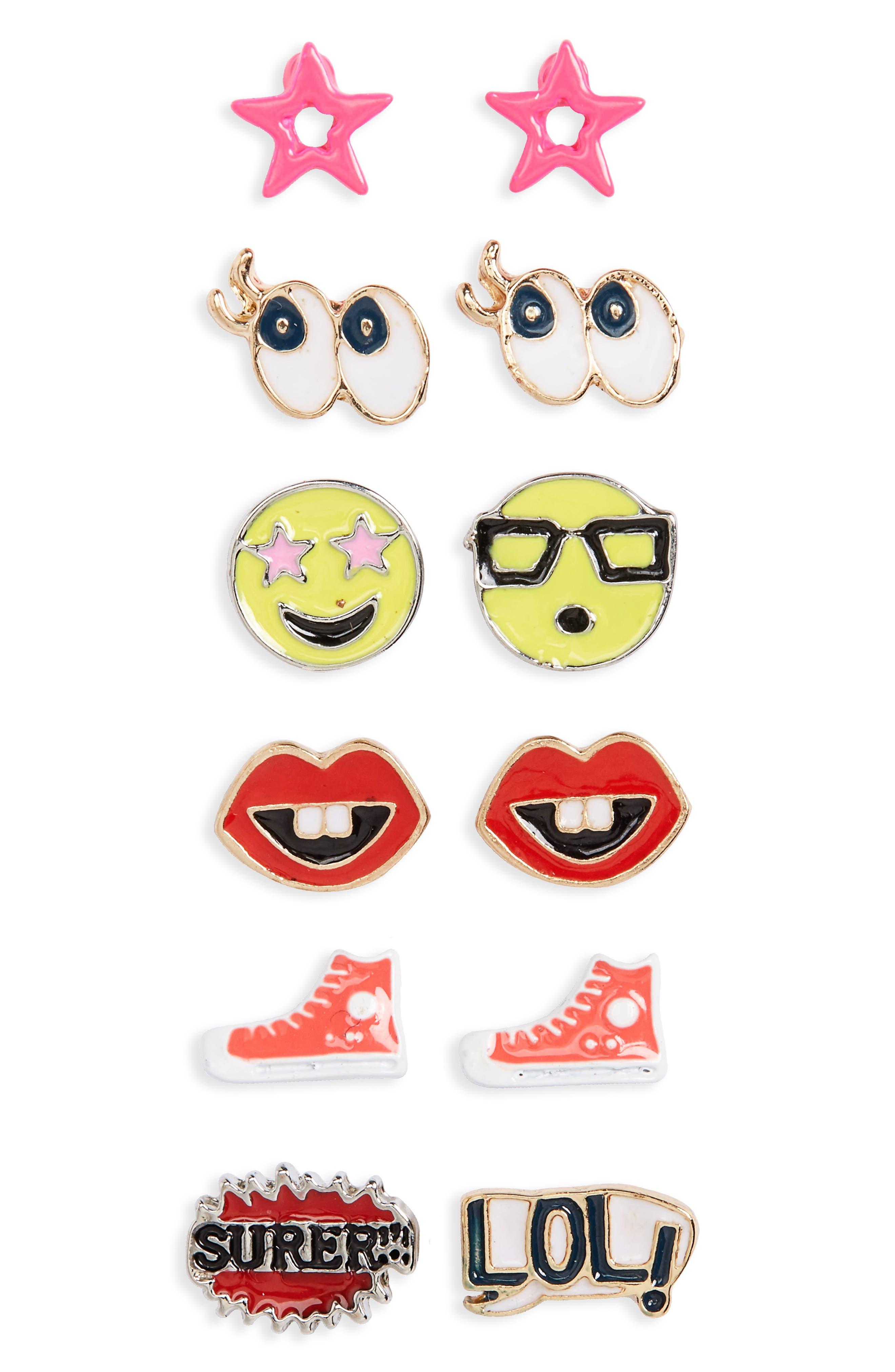 Capelli of New York Emoji 6-Pack Earrings (Big Girls)