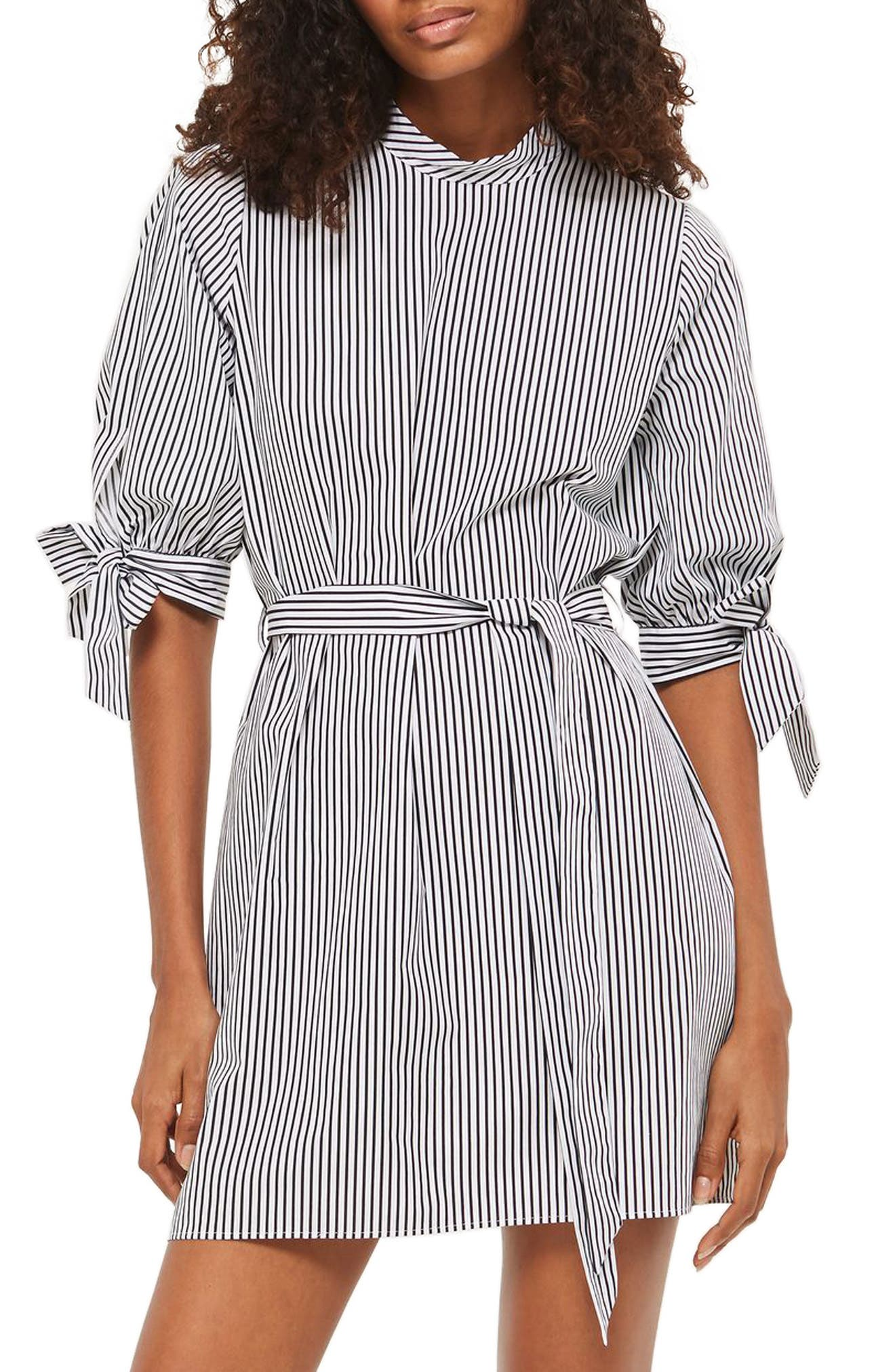 Topshop Stripe Belted Poplin Shift Dress
