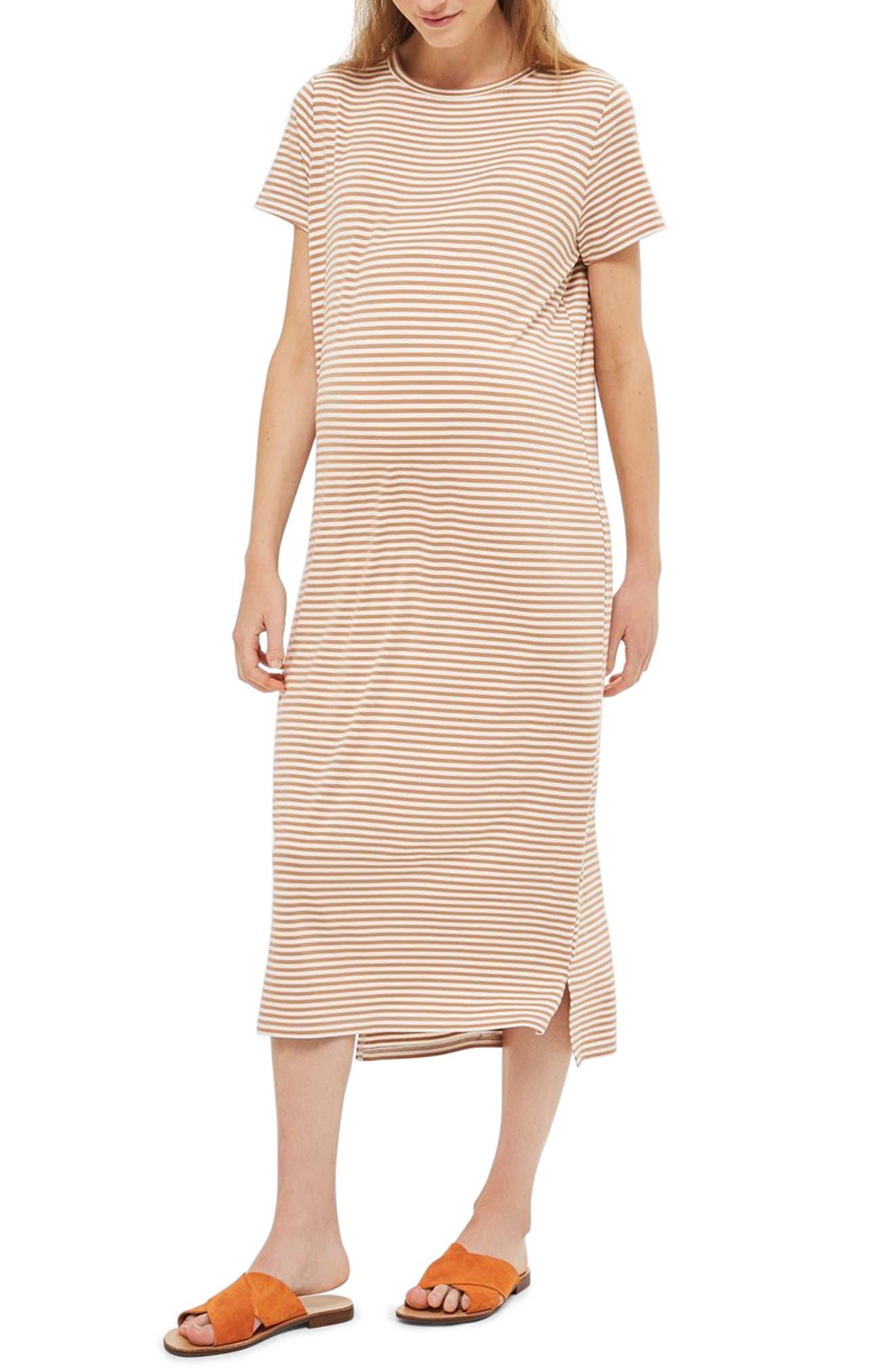 Topshop Stripe Maternity T-Shirt Dress