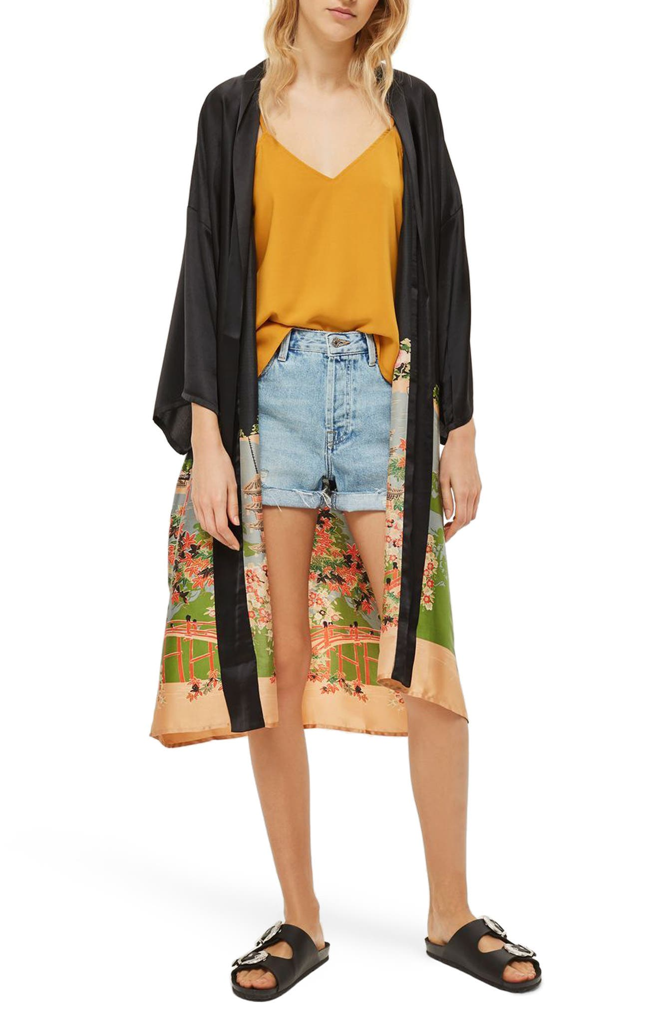 Topshop Graphic Satin Kimono