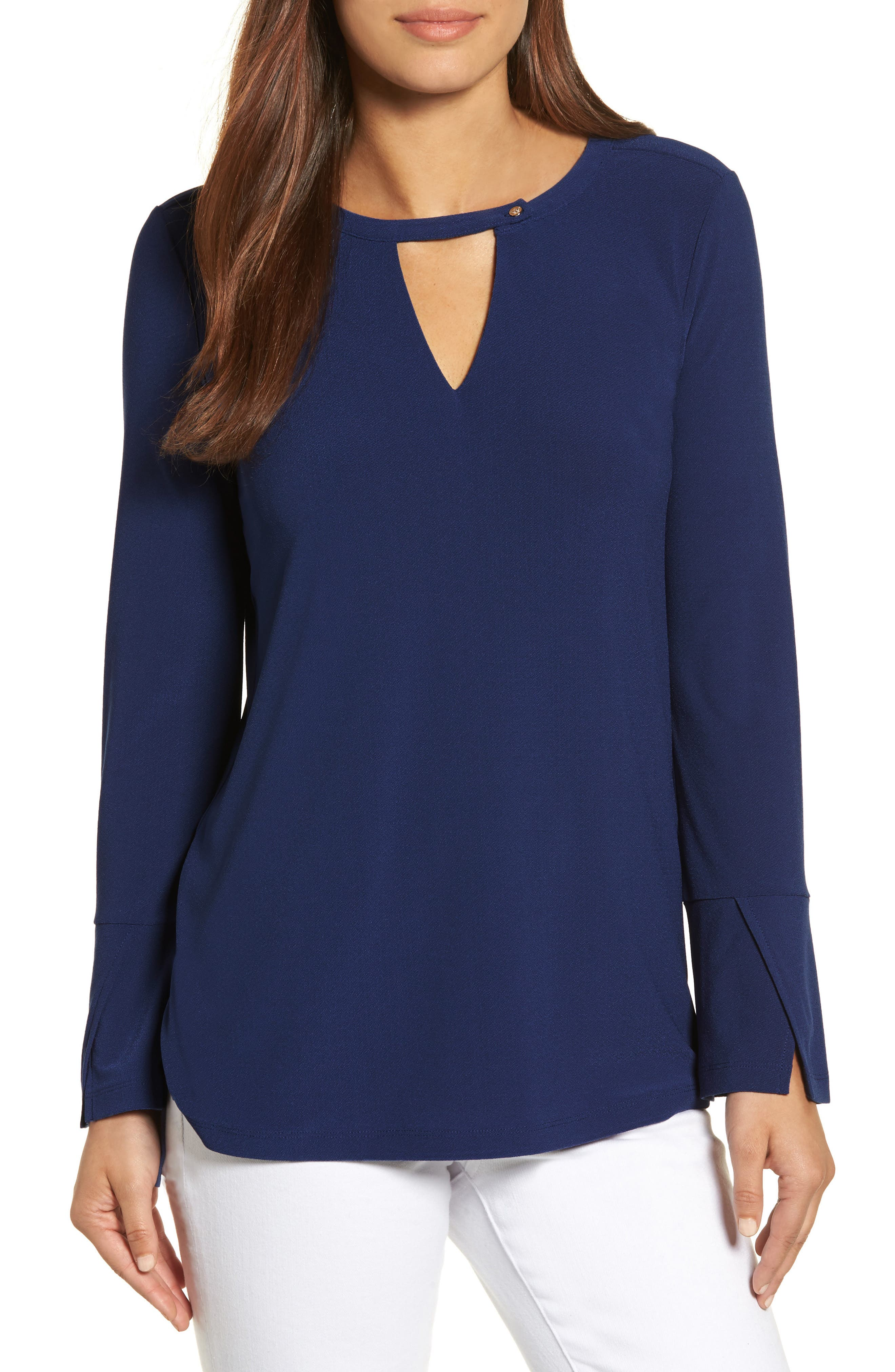 Chaus Flared Sleeve Keyhole Top