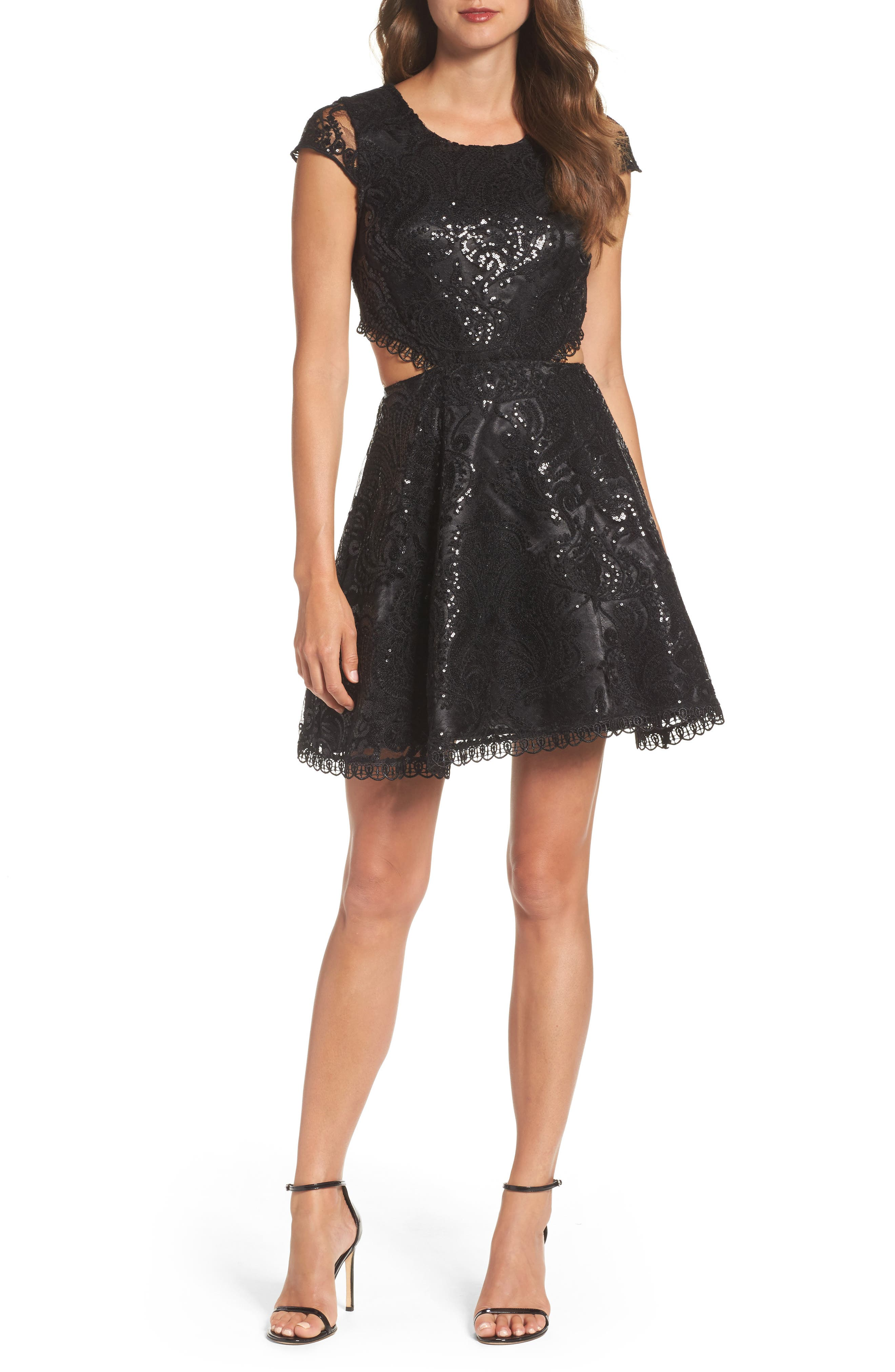 Sequin Hearts Cutout Sequin Lace Fit & Flare Dress