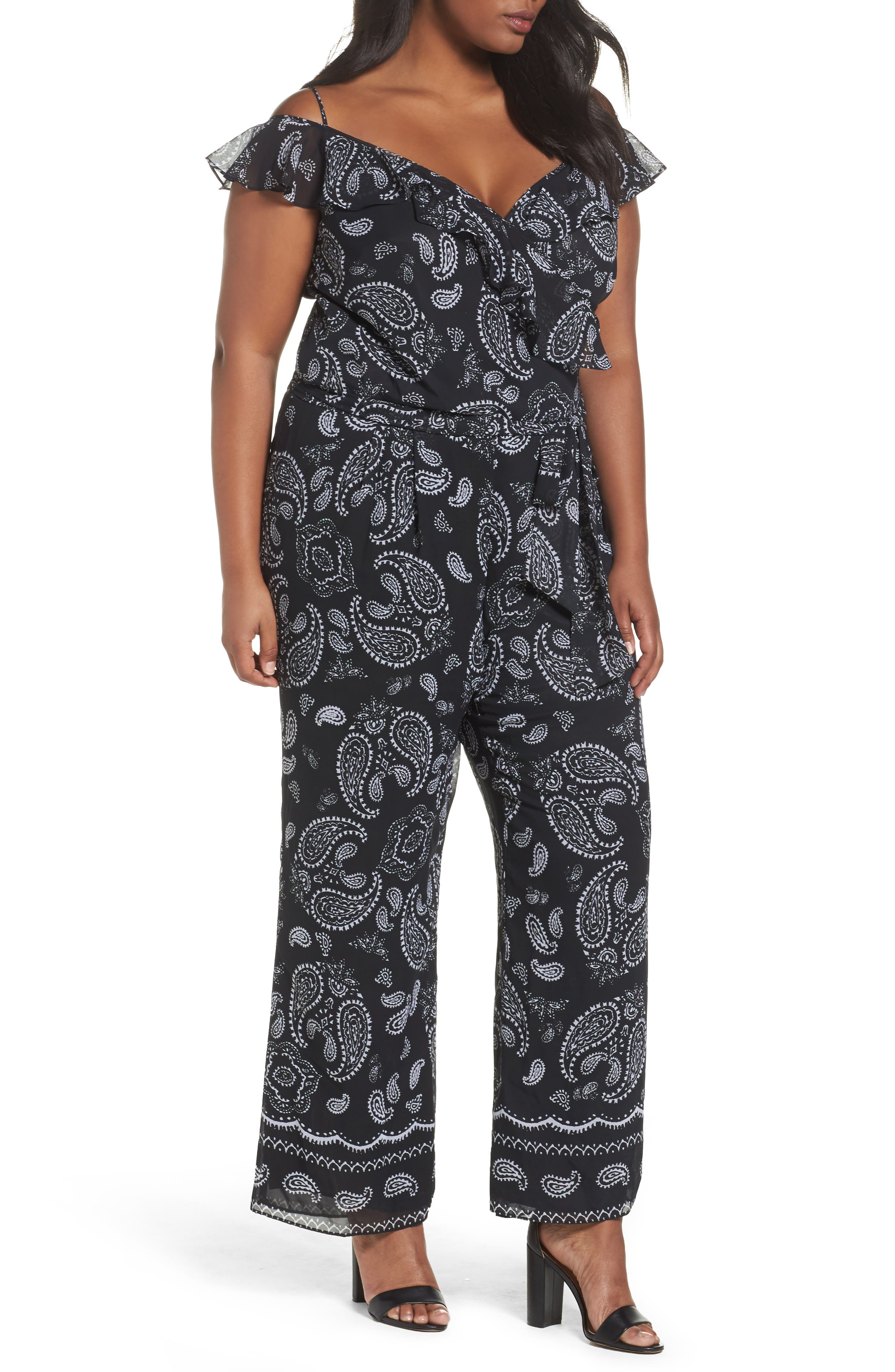 Tahari Off the Shoulder Paisley Chiffon Jumpsuit (Plus Size)