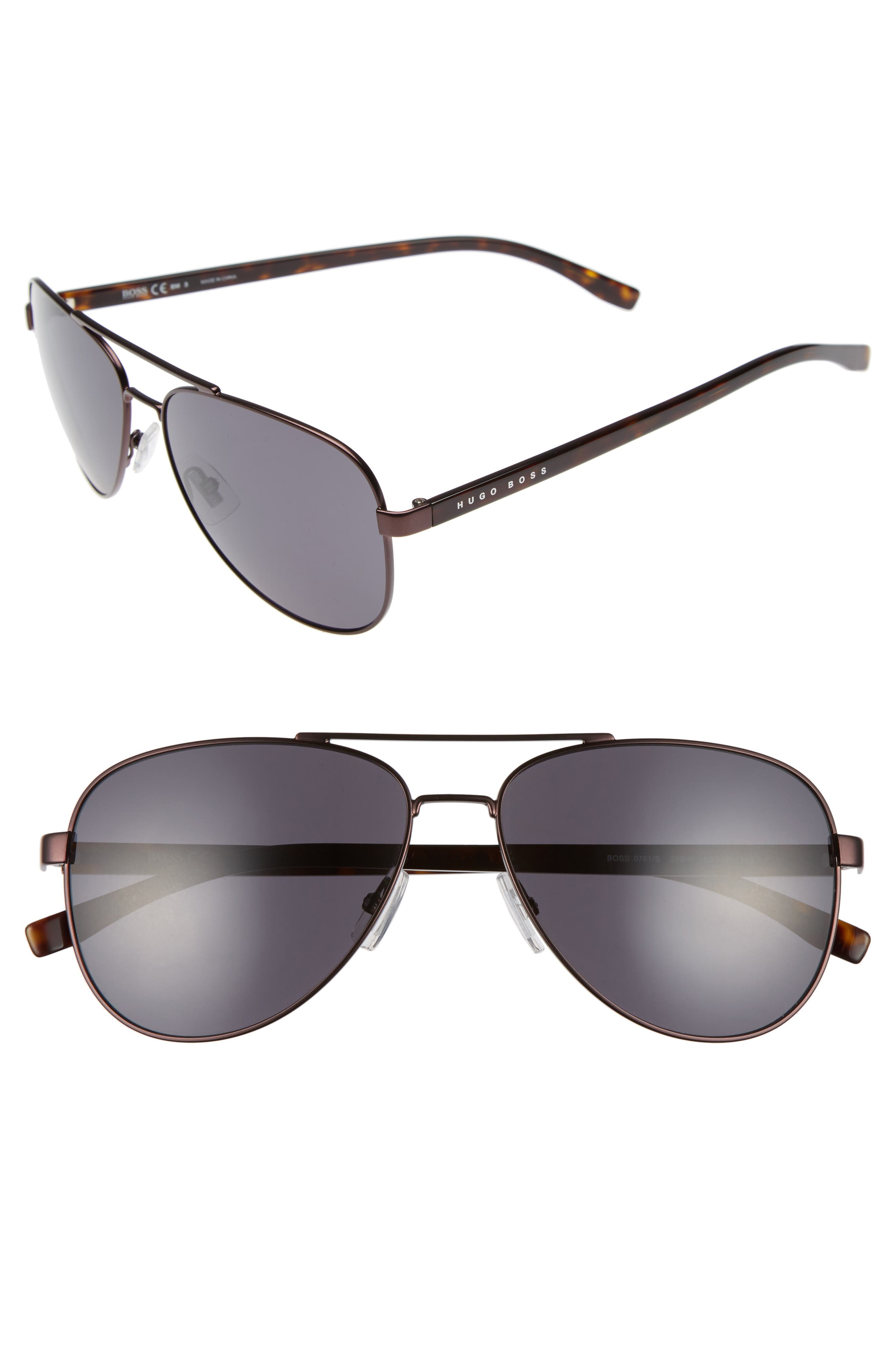 BOSS 60mm Aviator Sunglasses