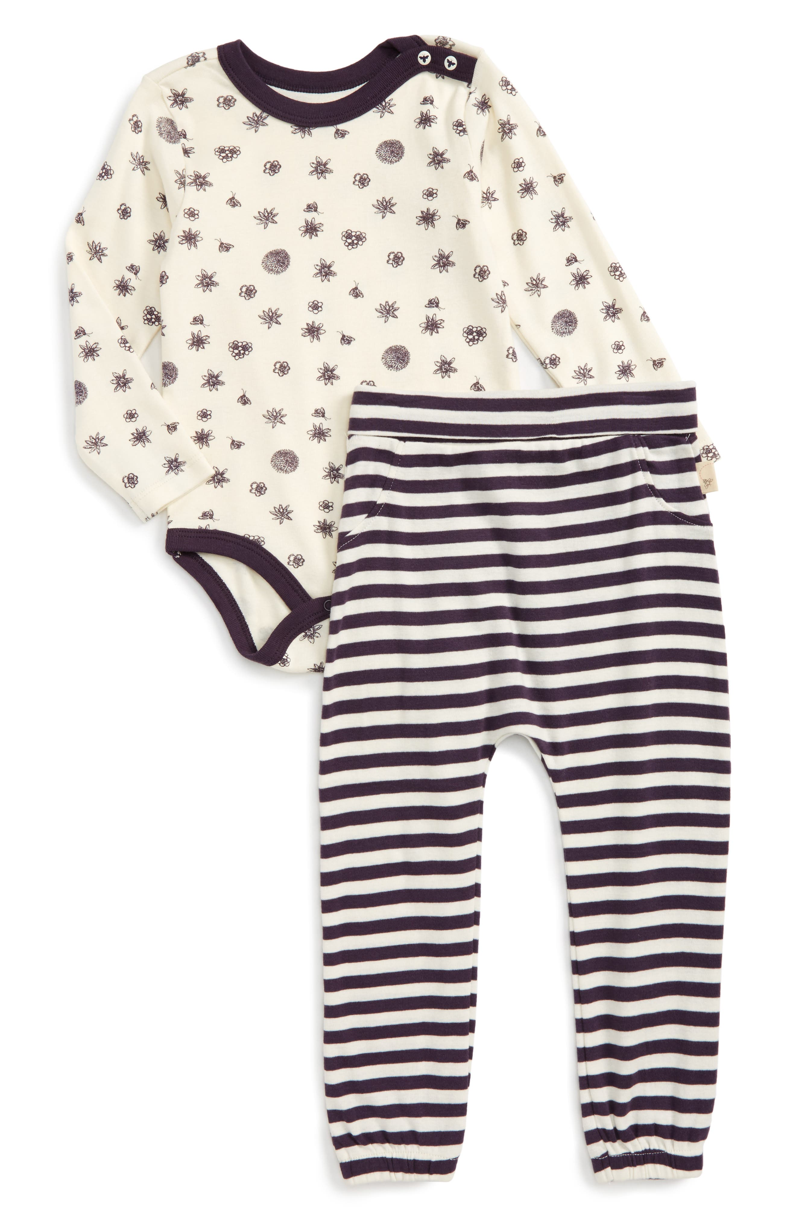 Burt's Bees Baby Foraged Finds Organic Cotton Bodysuit & Pants Set (Baby Girls)