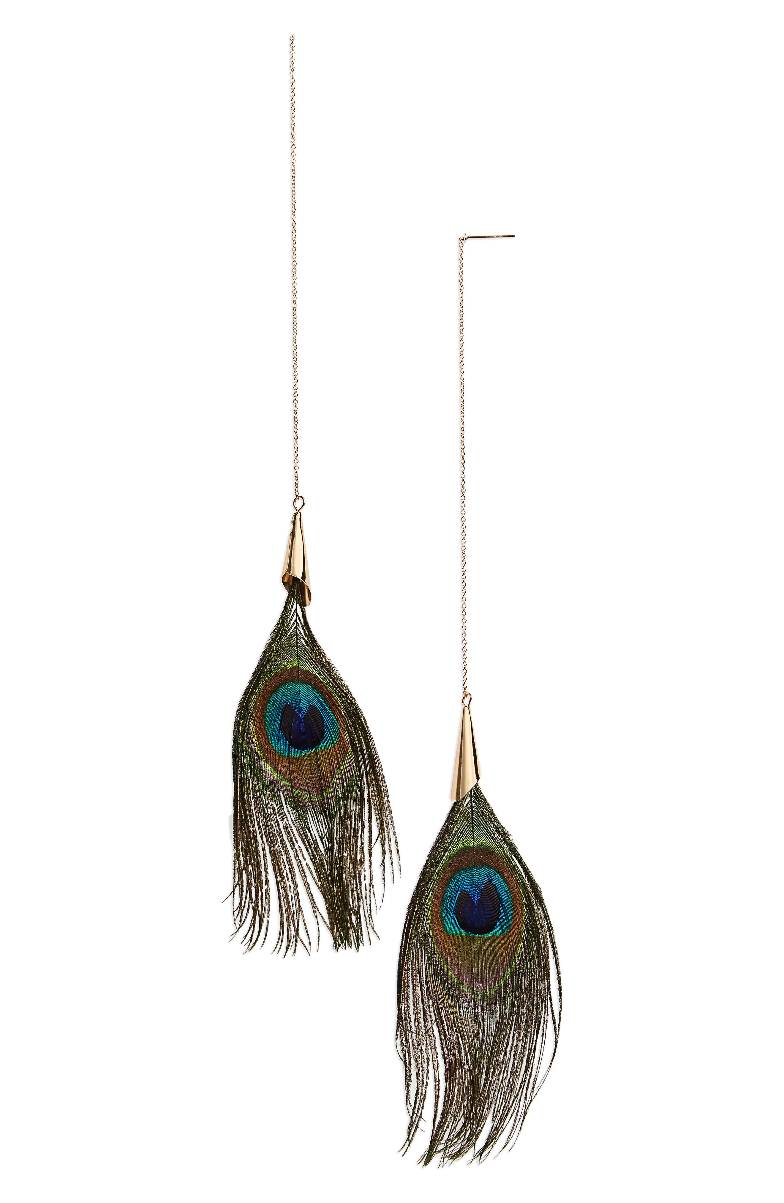 Panacea Peacock Feather Earrings