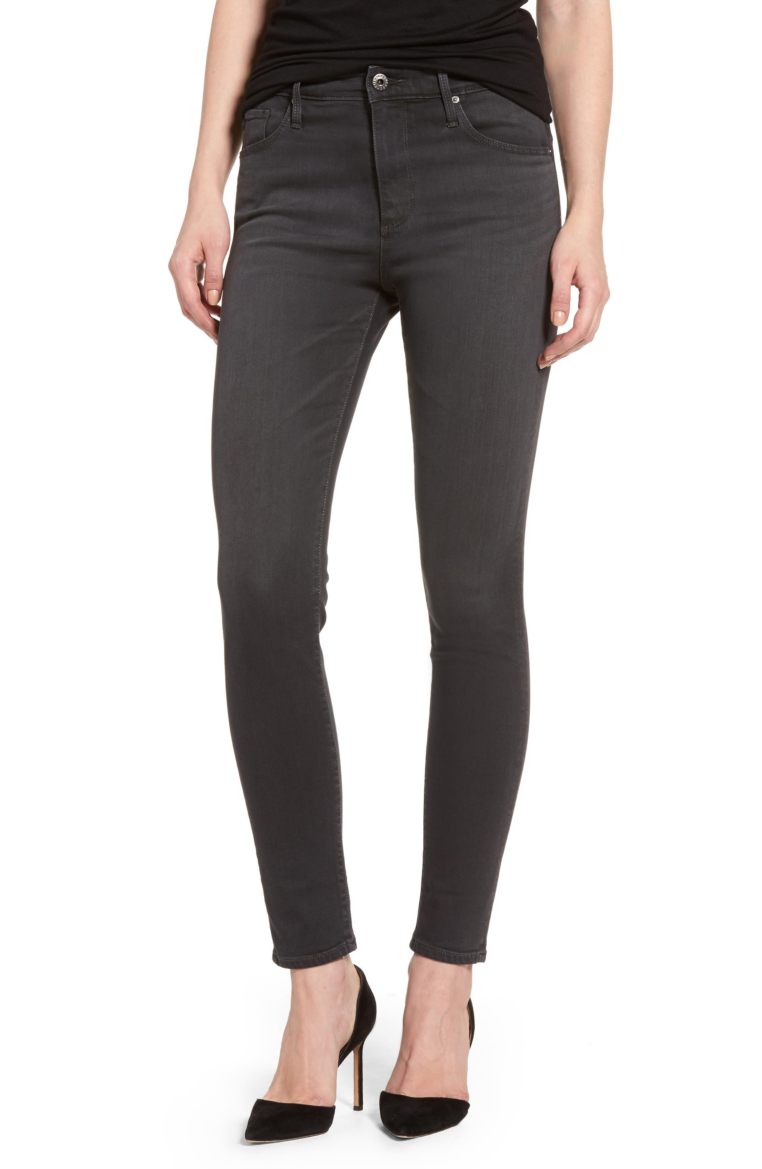 AG Farrah High Waist Ankle Skinny Jeans (Grey Mist)