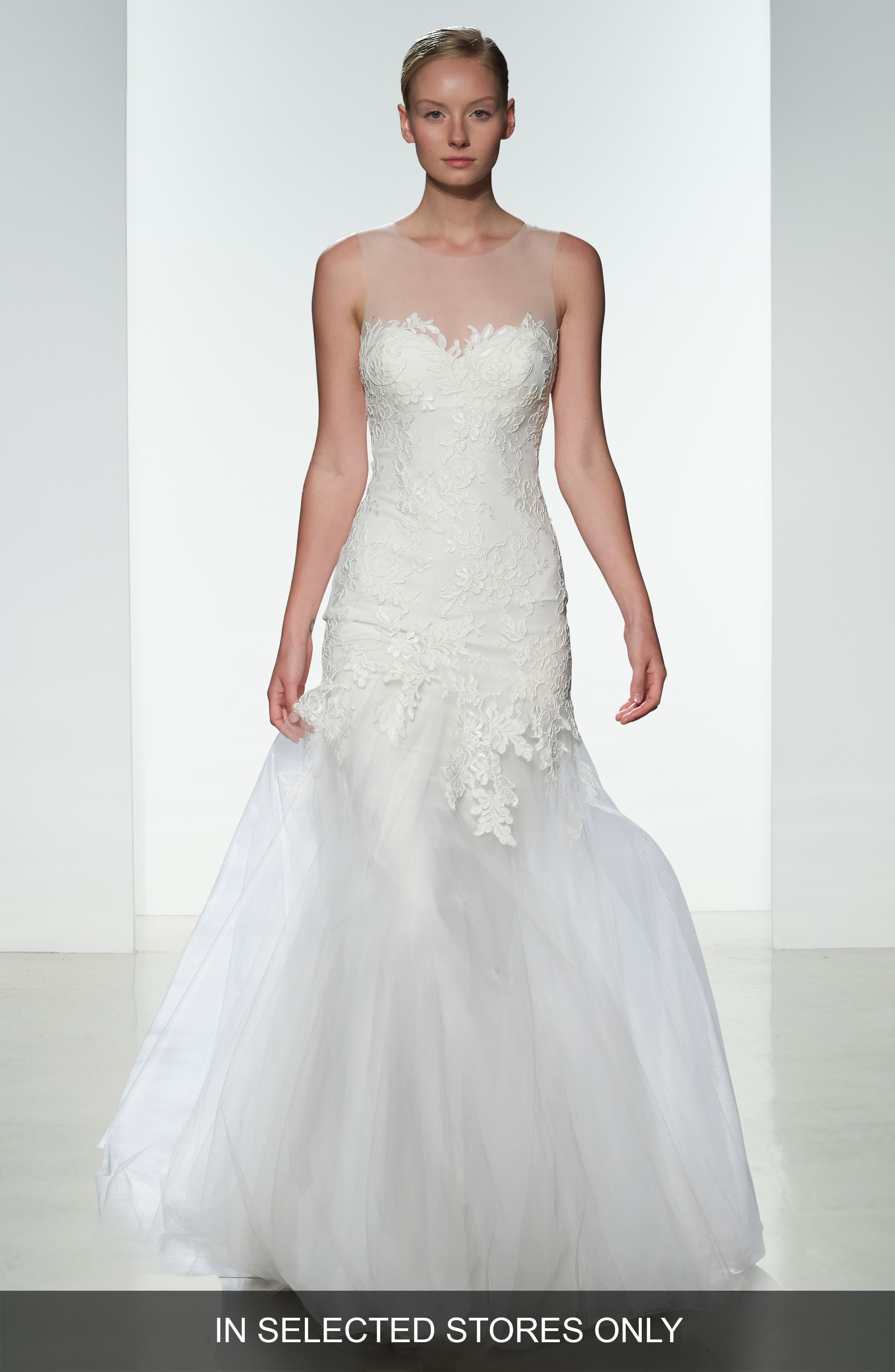 Amsale 'Courtney' Strapless Illusion Lace & Tulle Mermaid Dress (In Stores Only)