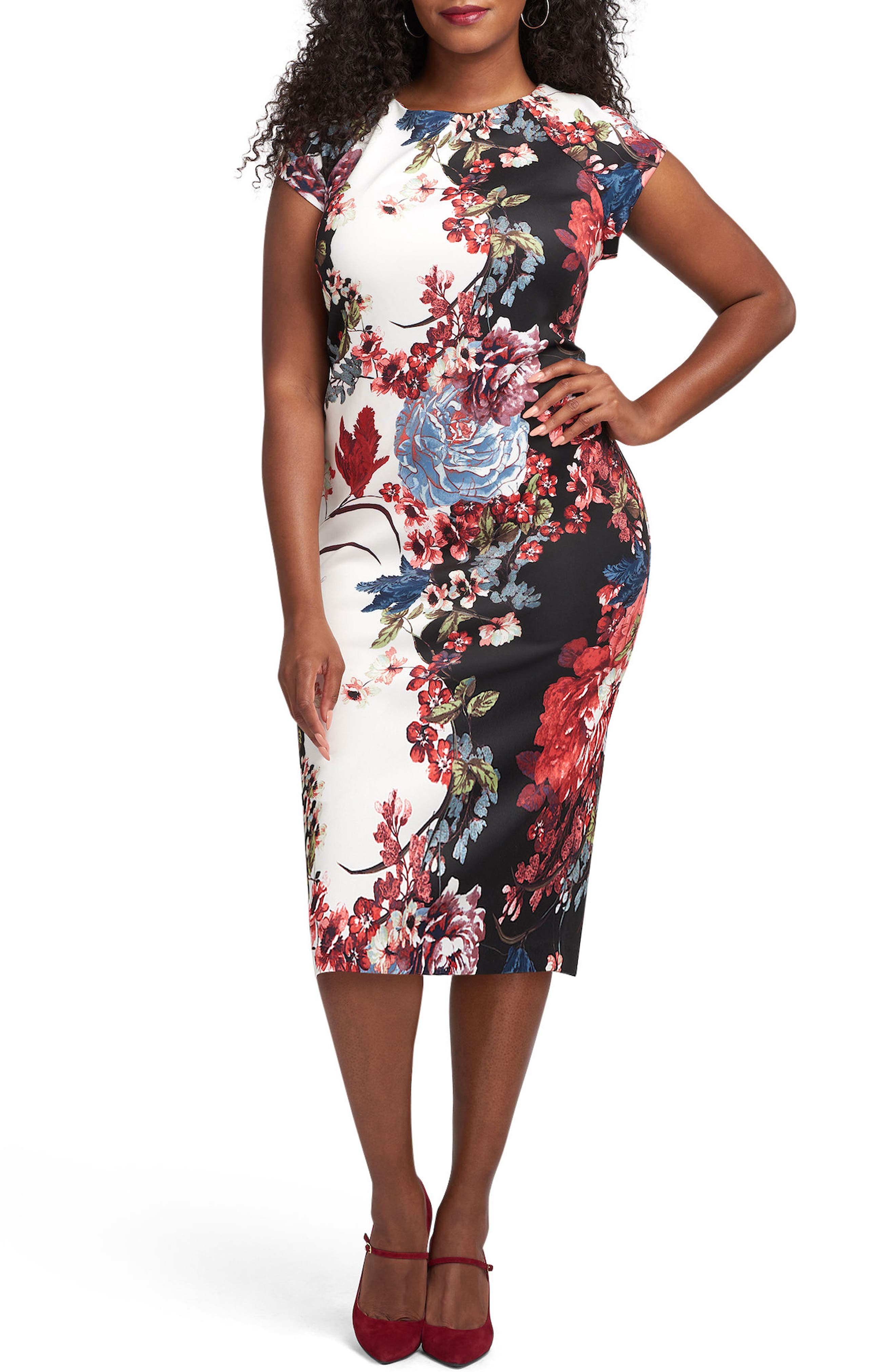 ECI Floral Print Scuba Sheath Dress (Plus Size)