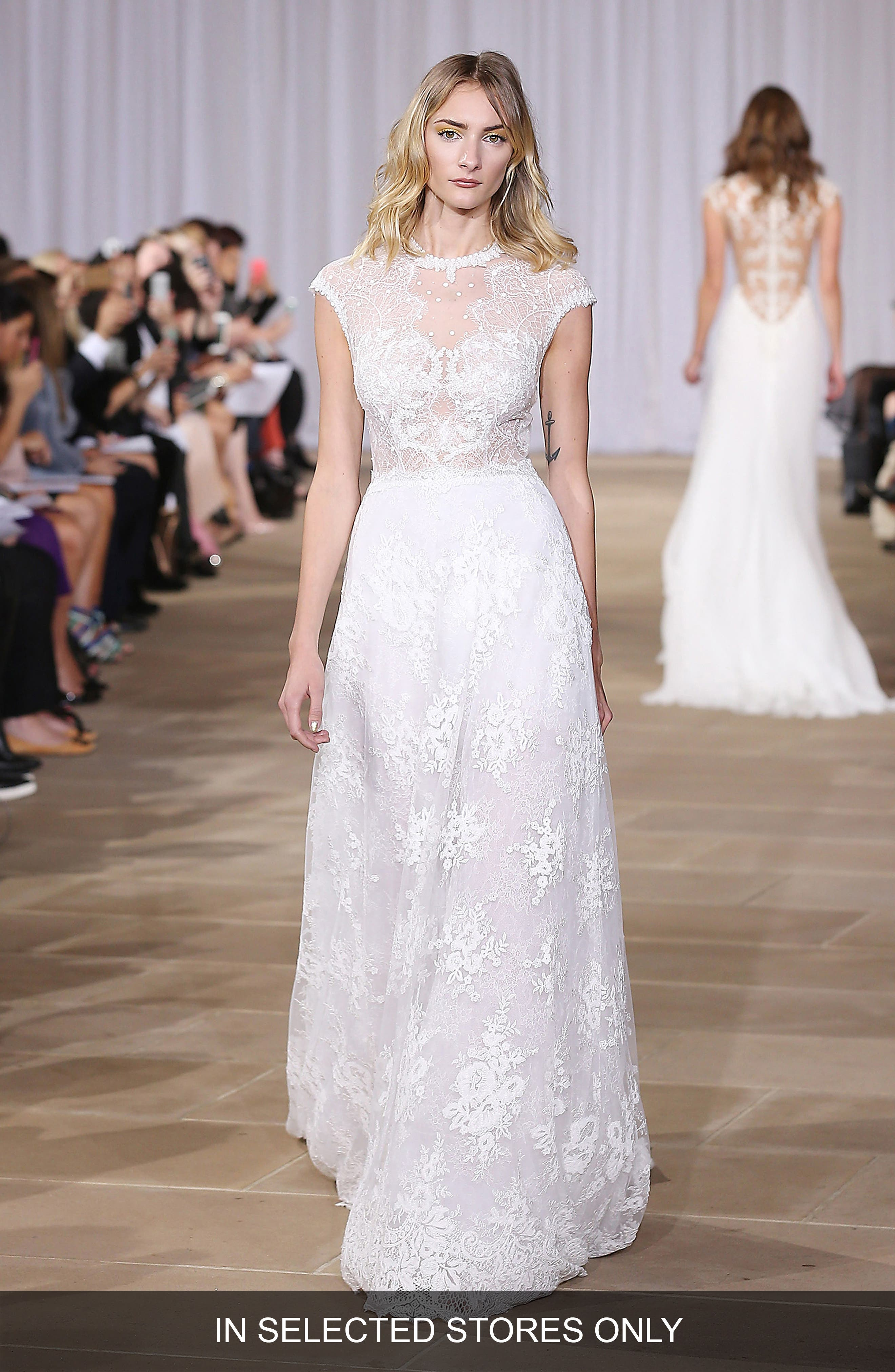 Ines Di Santo 'Inspired' Embellished Neck Cap Sleeve Lace A-Line Gown (In Stores Only)