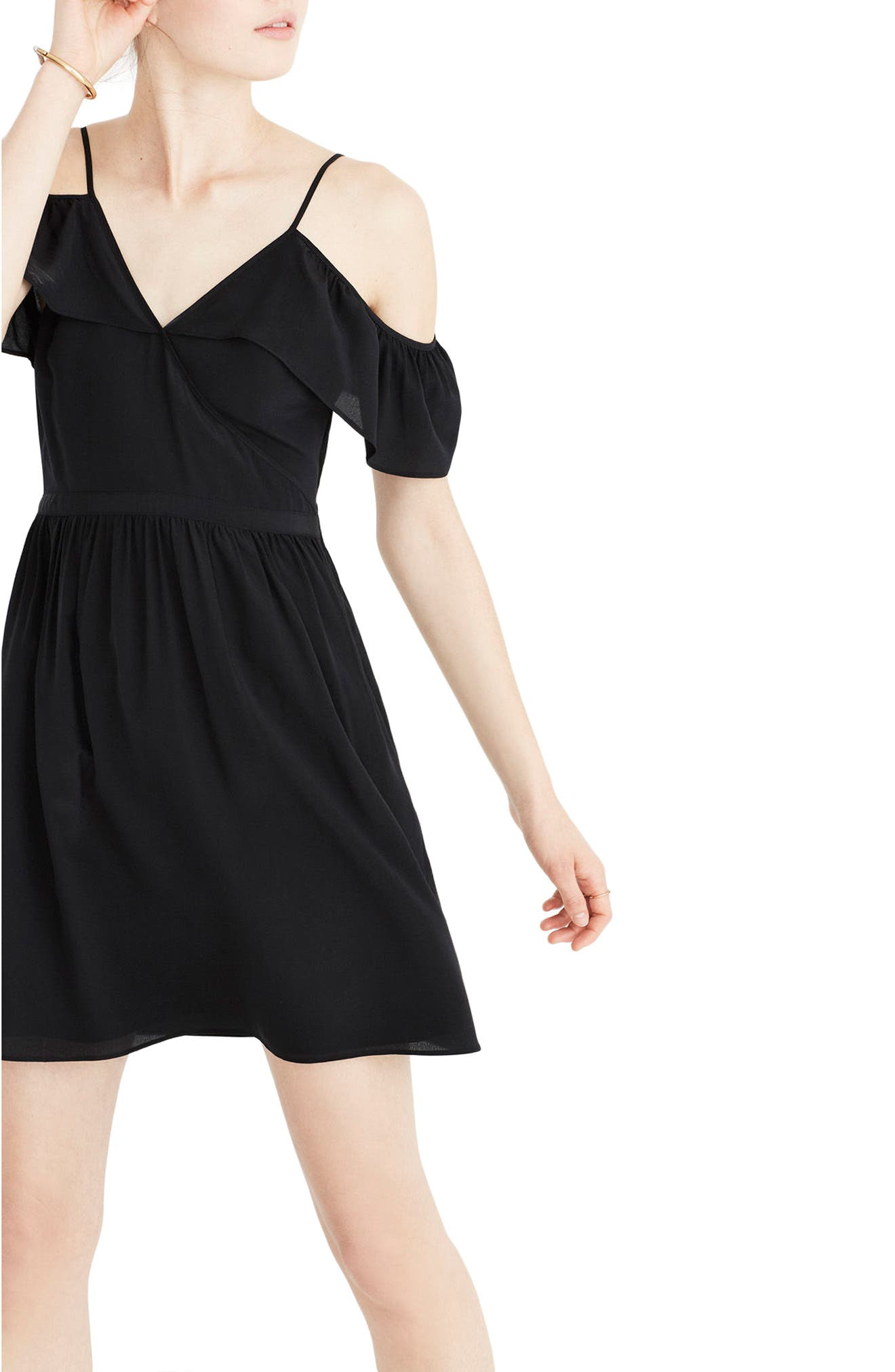 Madewell Ruffle Cold Shoulder Silk Dress