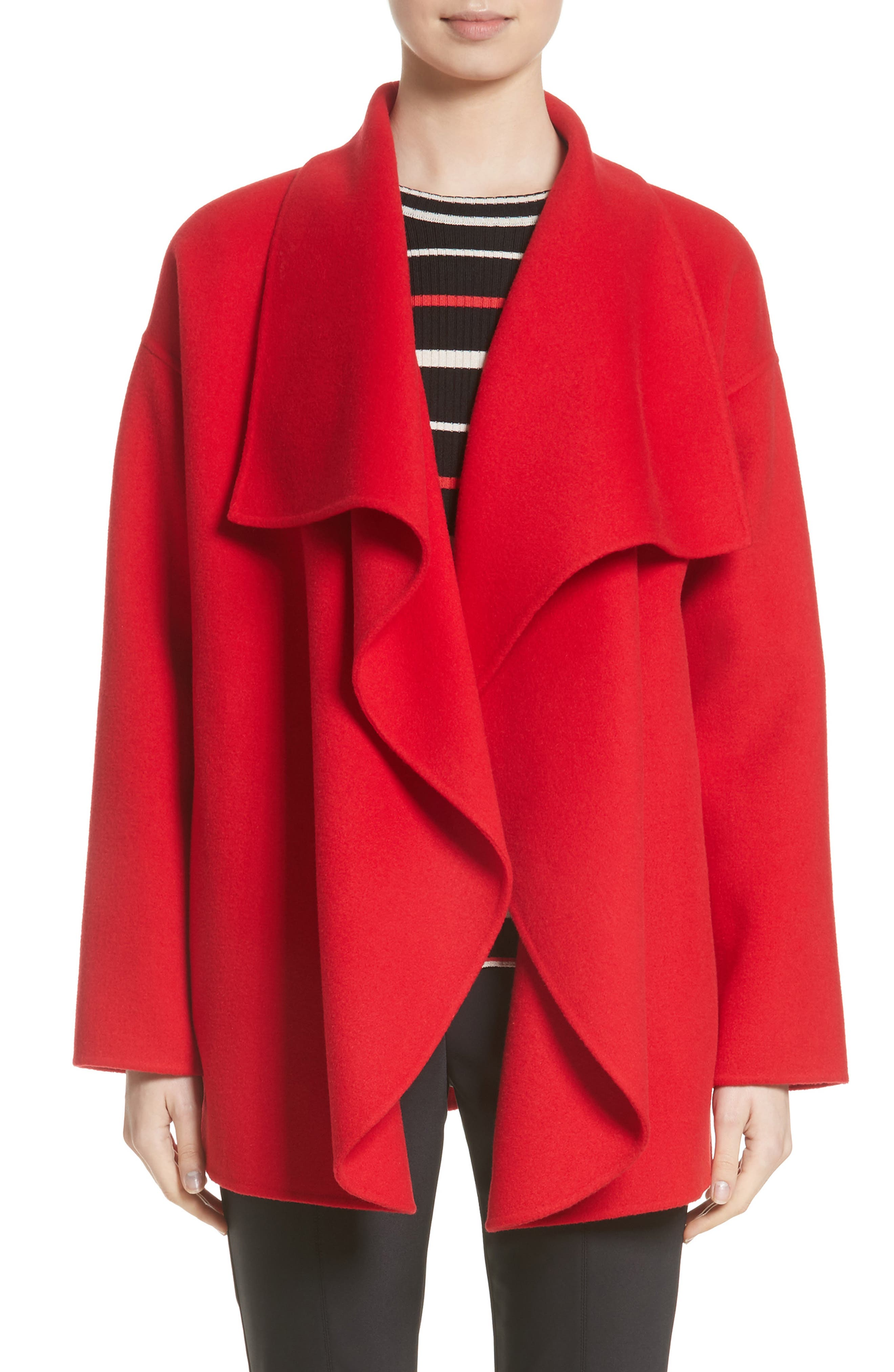 St. John Collection Double Face Wool Blend Drape Coat (Nordstrom Exclusive Color)