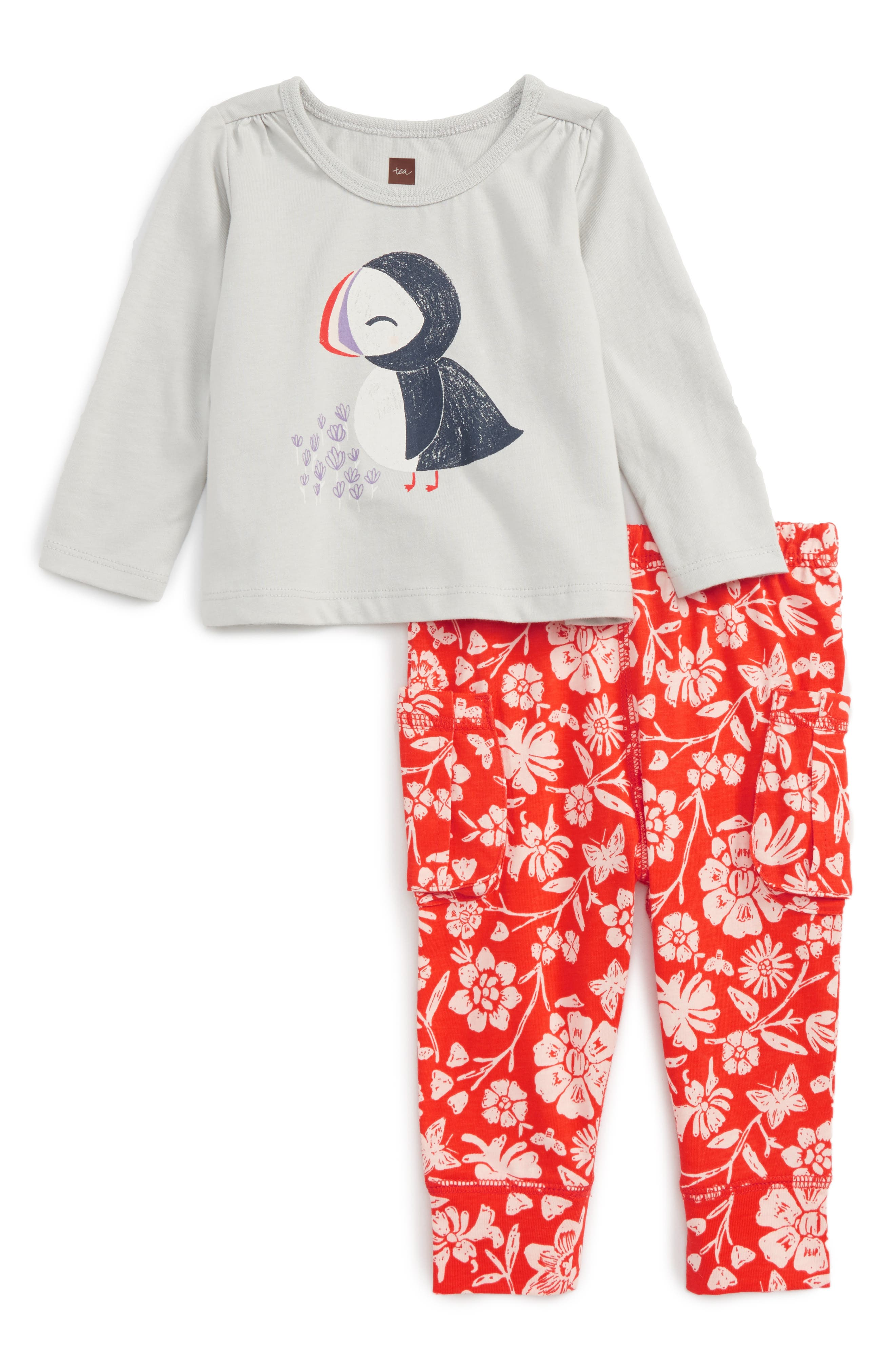 Tea Collection Puffin Graphic Top & Print Leggings Set (Baby Girls)