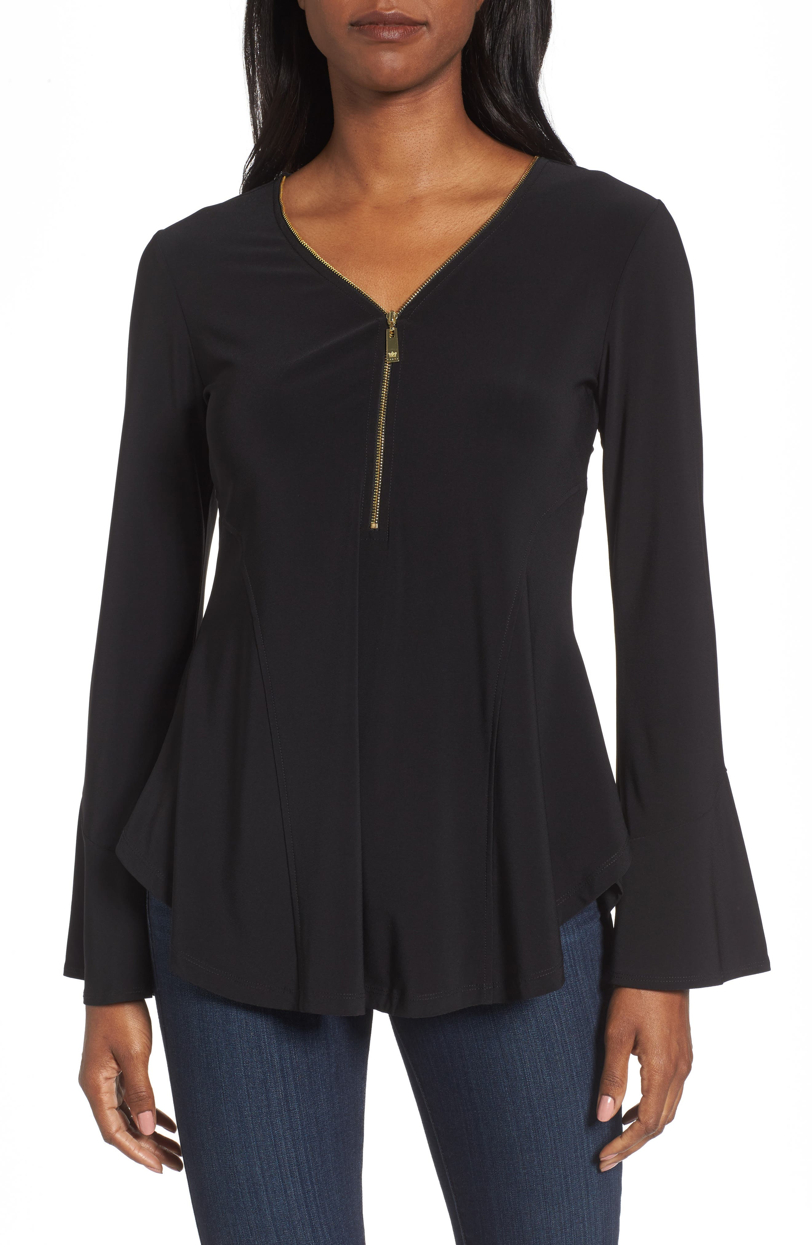 Chaus Zip Front Flounce Sleeve Top