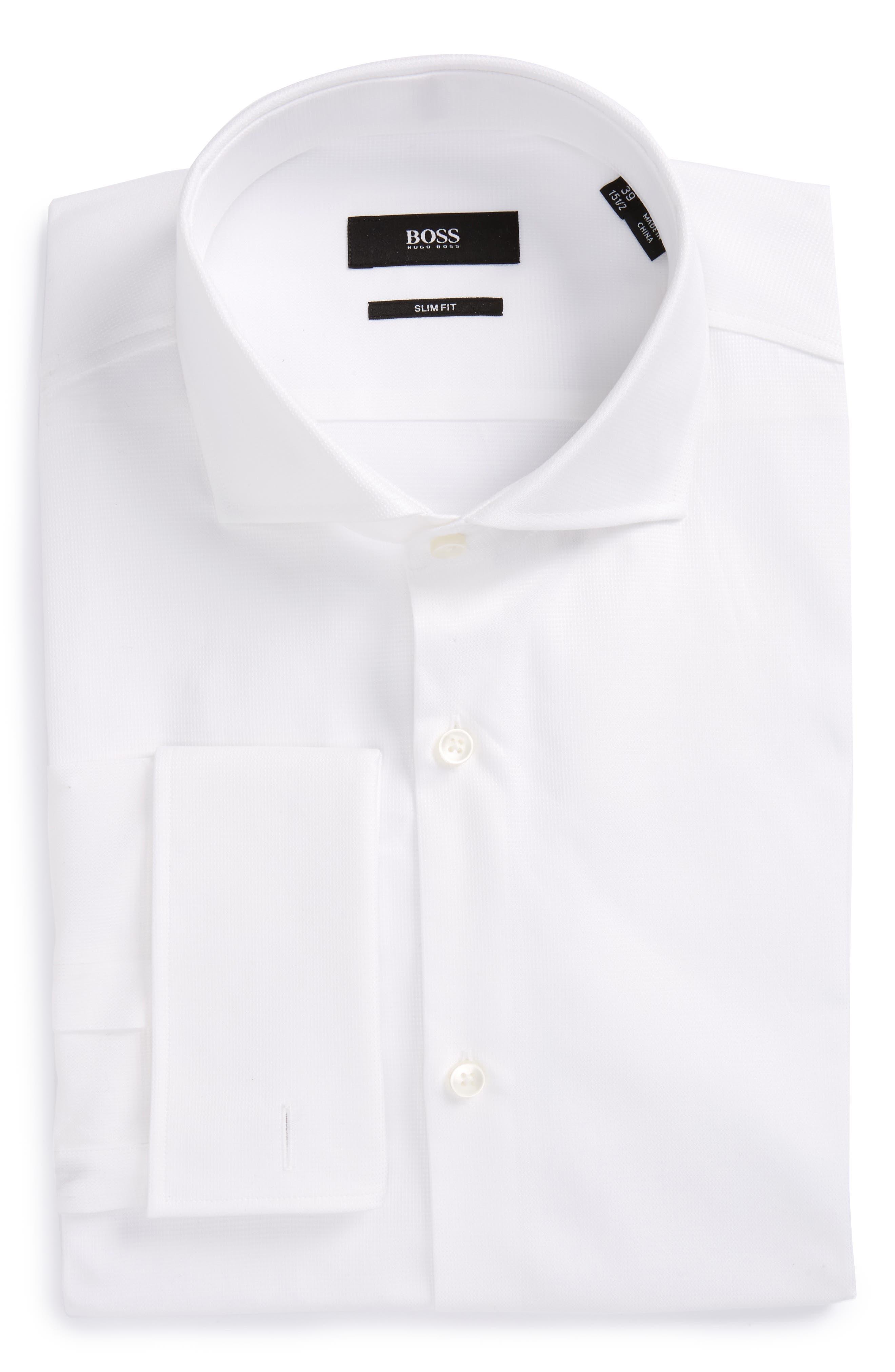 BOSS Jaiden Slim Fit Solid French Cuff Dress Shirt