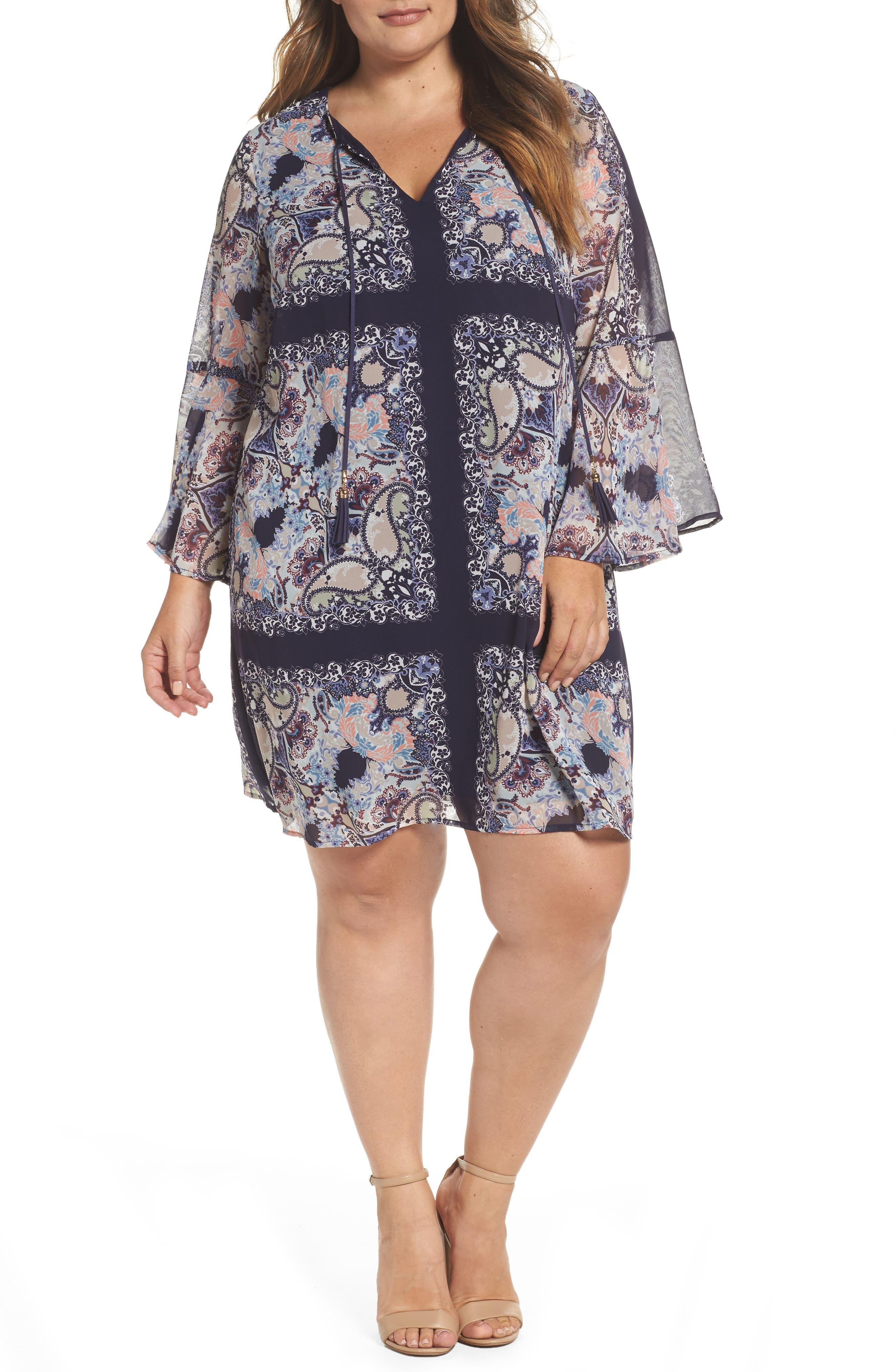 Vince Camuto Print Chiffon Bell Sleeve Shift Dress (Plus Size)