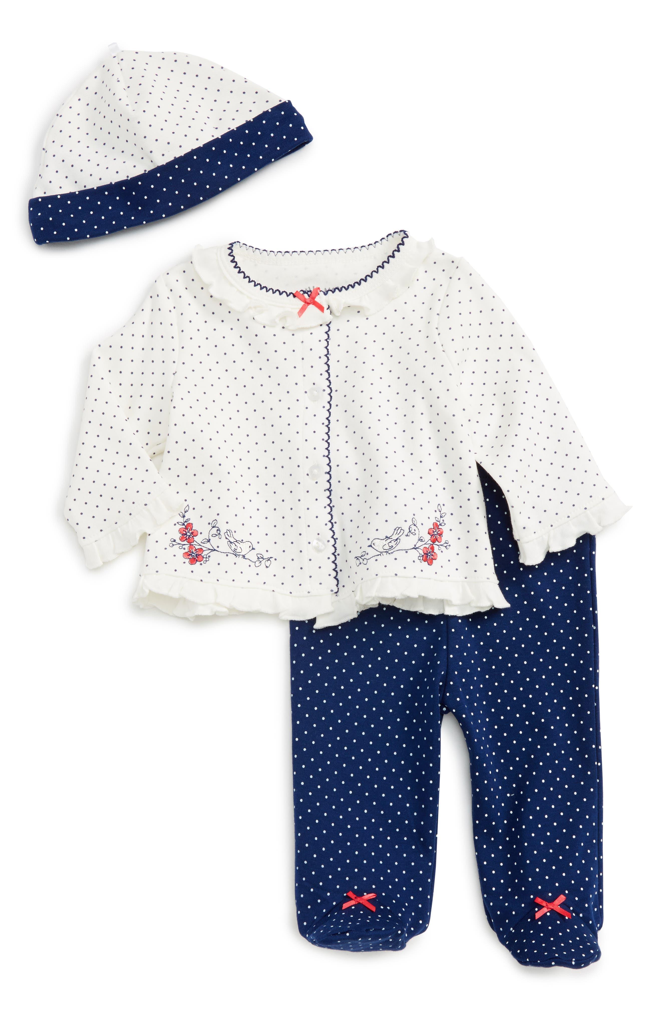 Little Me Bird Dot Cardigan, Pants & Hat Set (Baby Girls)