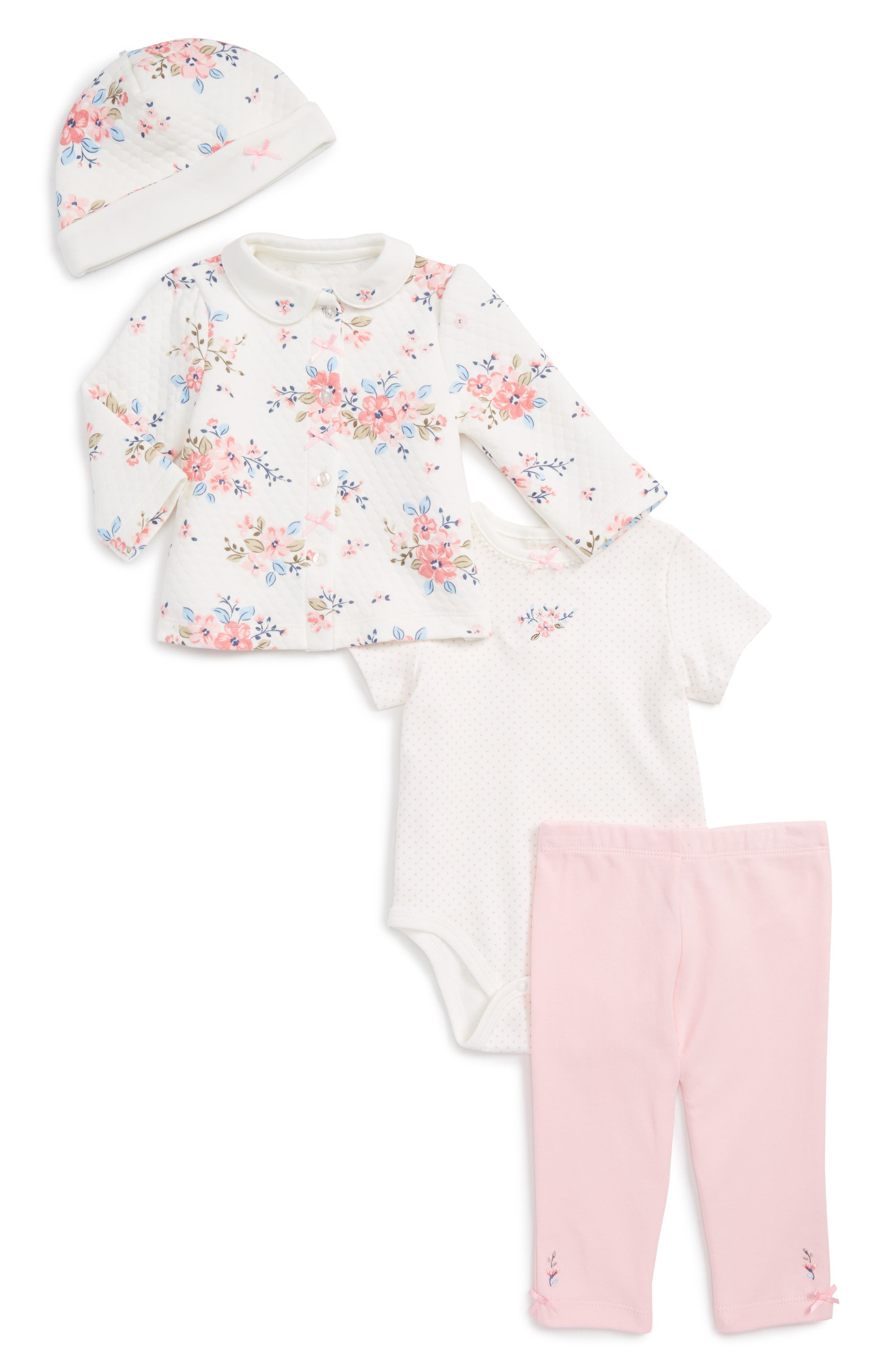 Little Me Take Me Home - Blossoms Quilted Top, Bodysuit, Leggings & Hat Set (Baby Girls)