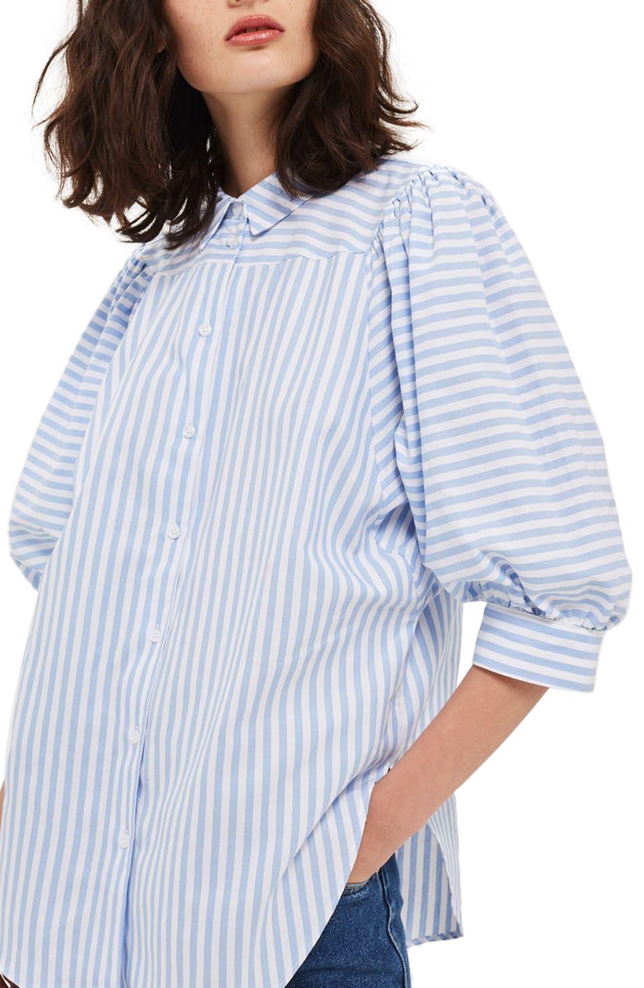 Topshop Stripe Puff Sleeve Shirt