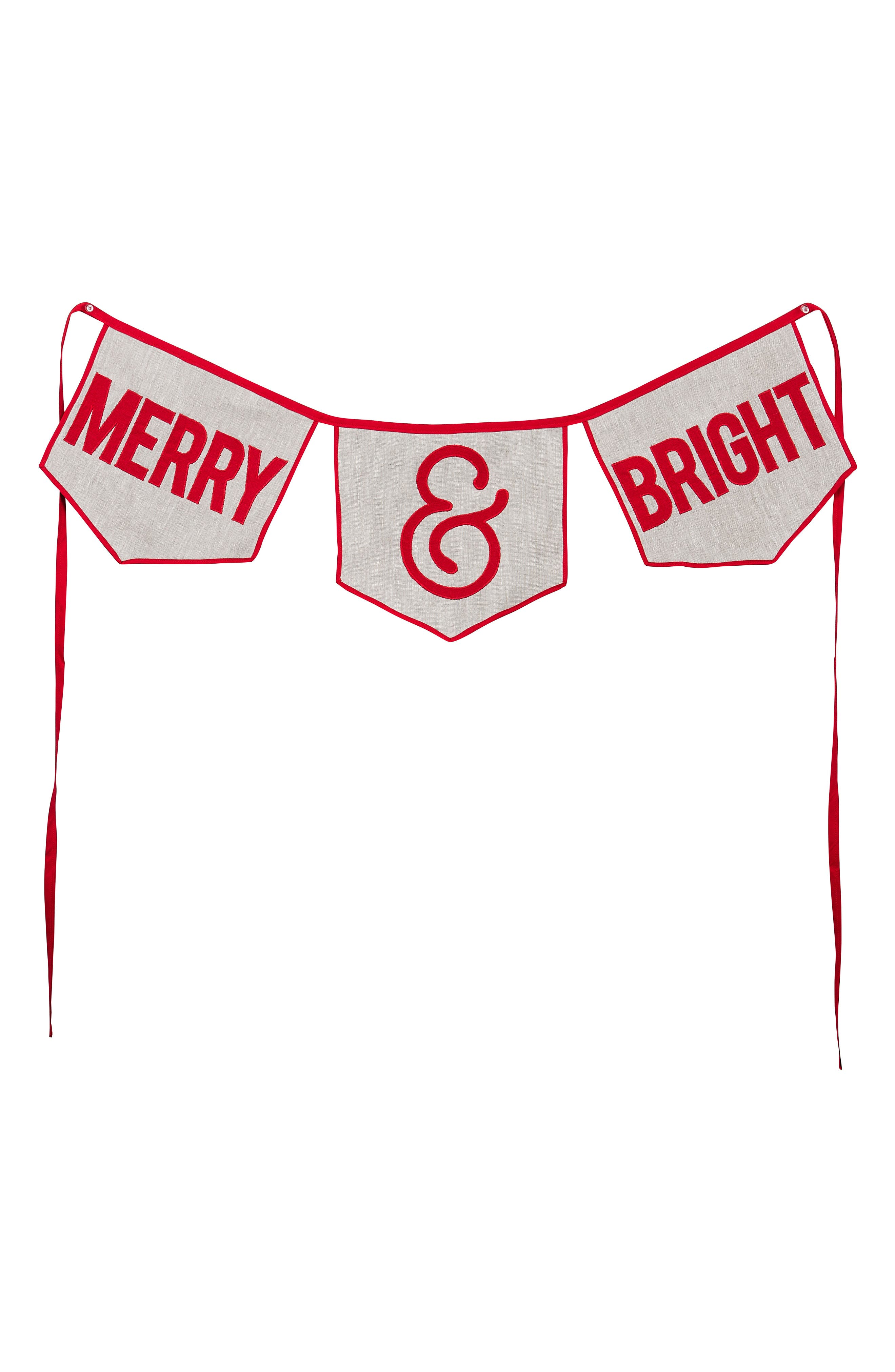 Glory Haus Merry & Bright Burlap Banner