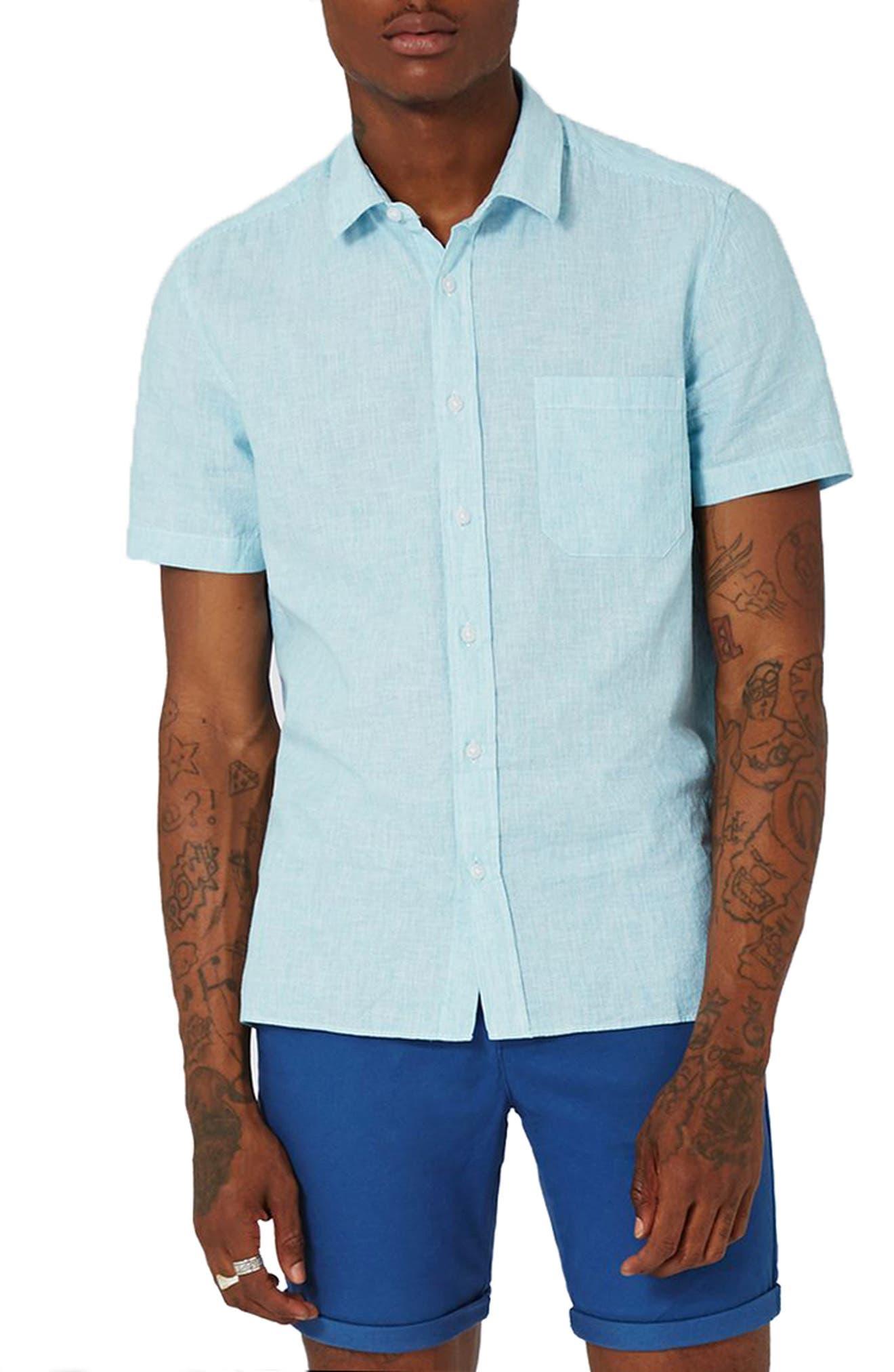 Topman Classic Fit Stripe Cotton & Linen Shirt
