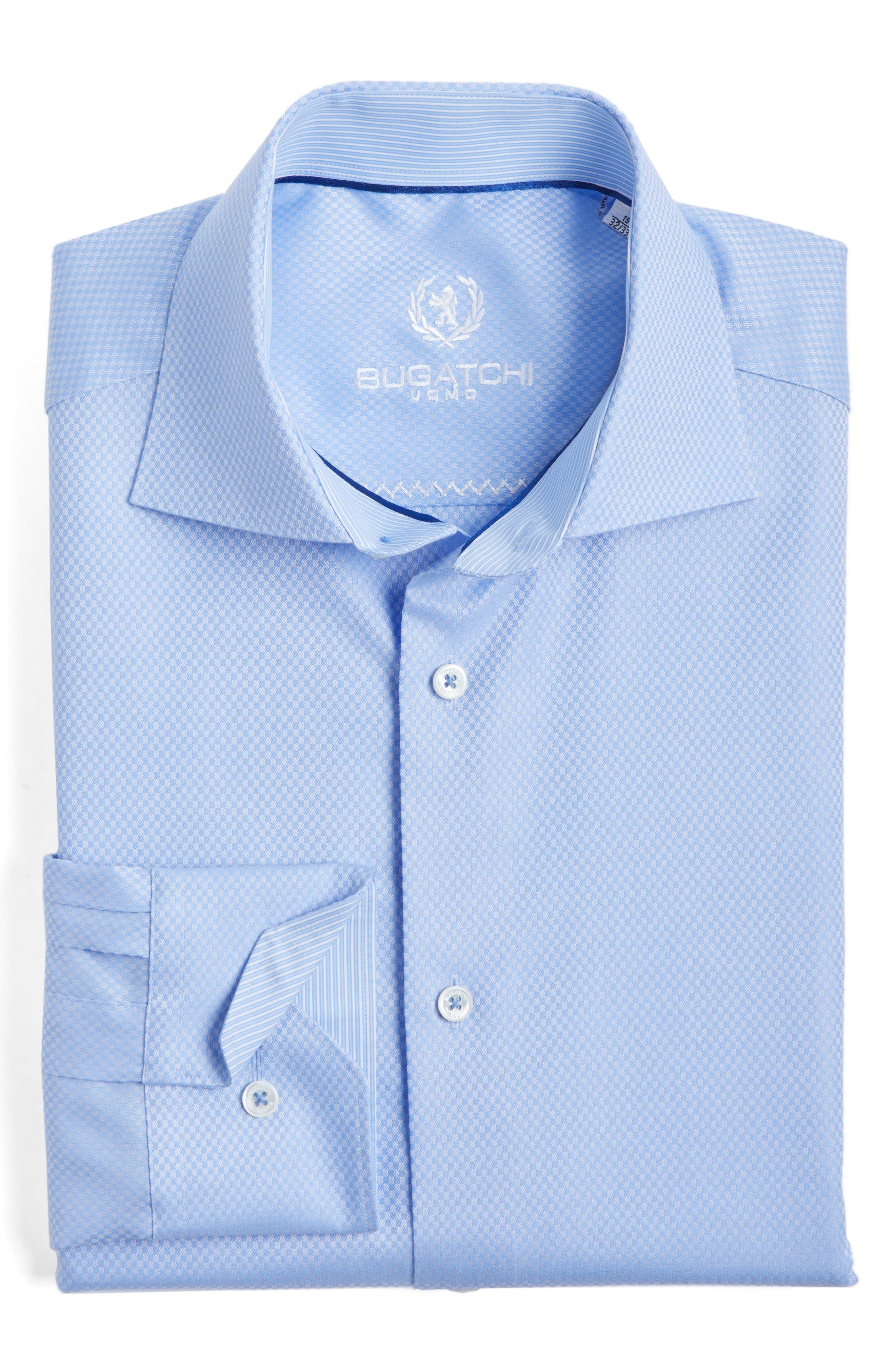 Bugatchi Trim Fit Twill Check Dress Shirt