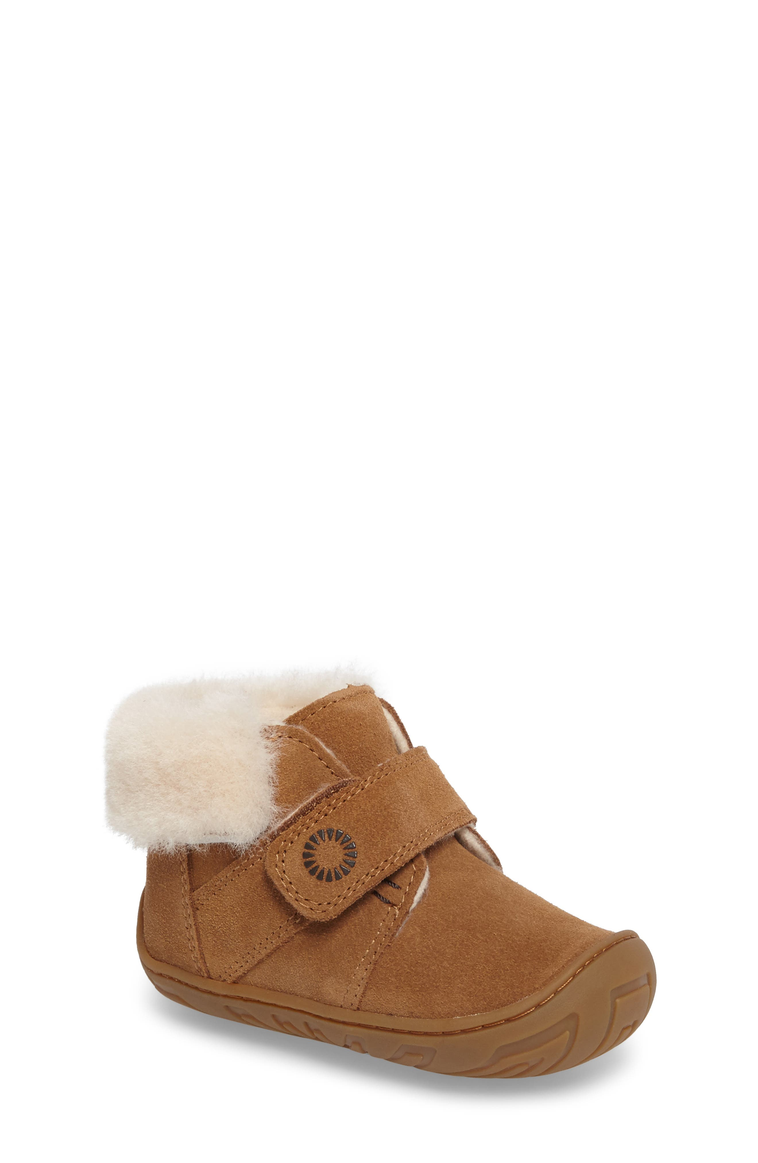 UGG® Jorgen Genuine Shearling Bootie (Baby, Walker & Toddler)