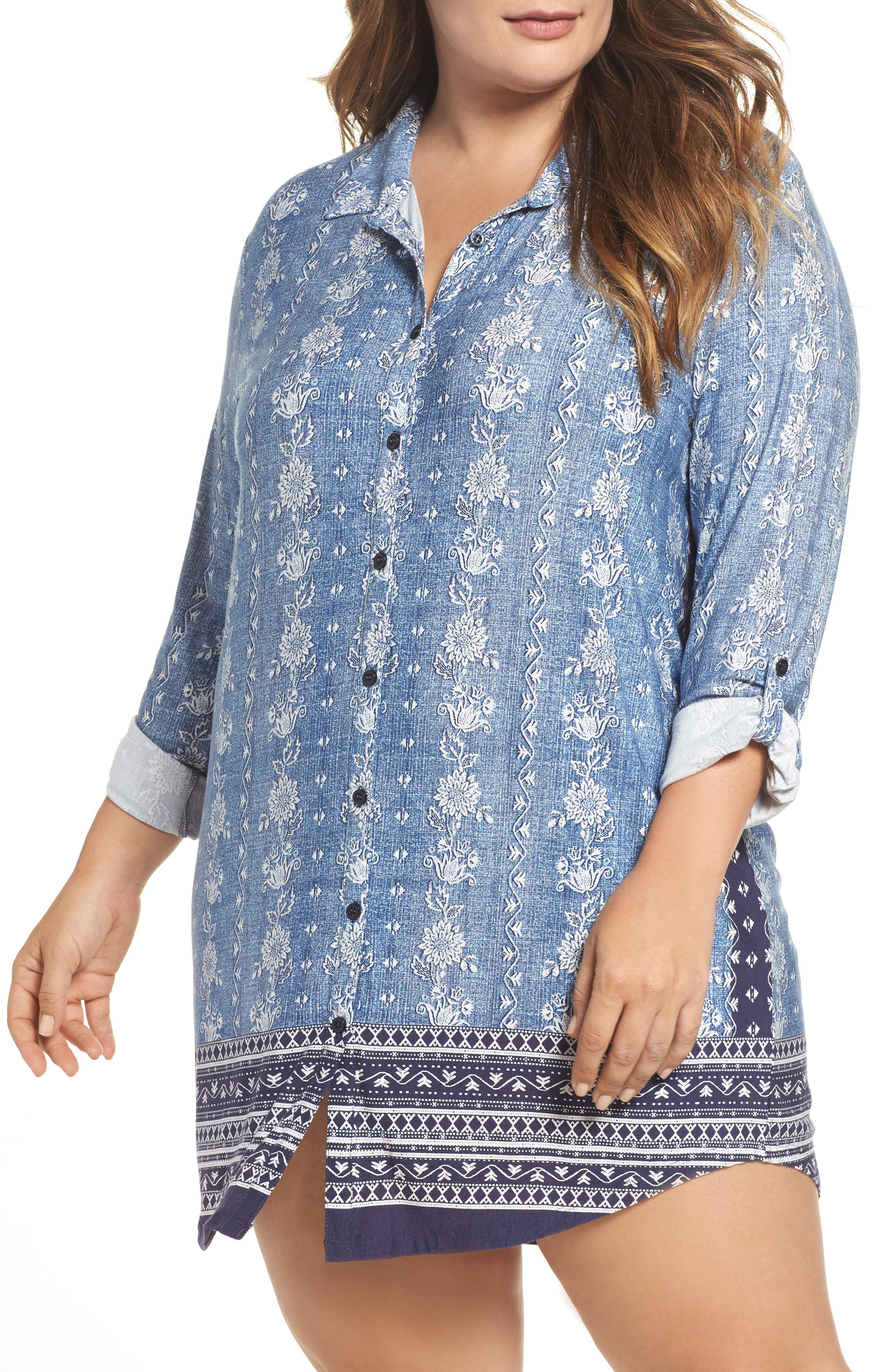 PJ Salvage Blue Traveler Nightshirt (Plus Size)