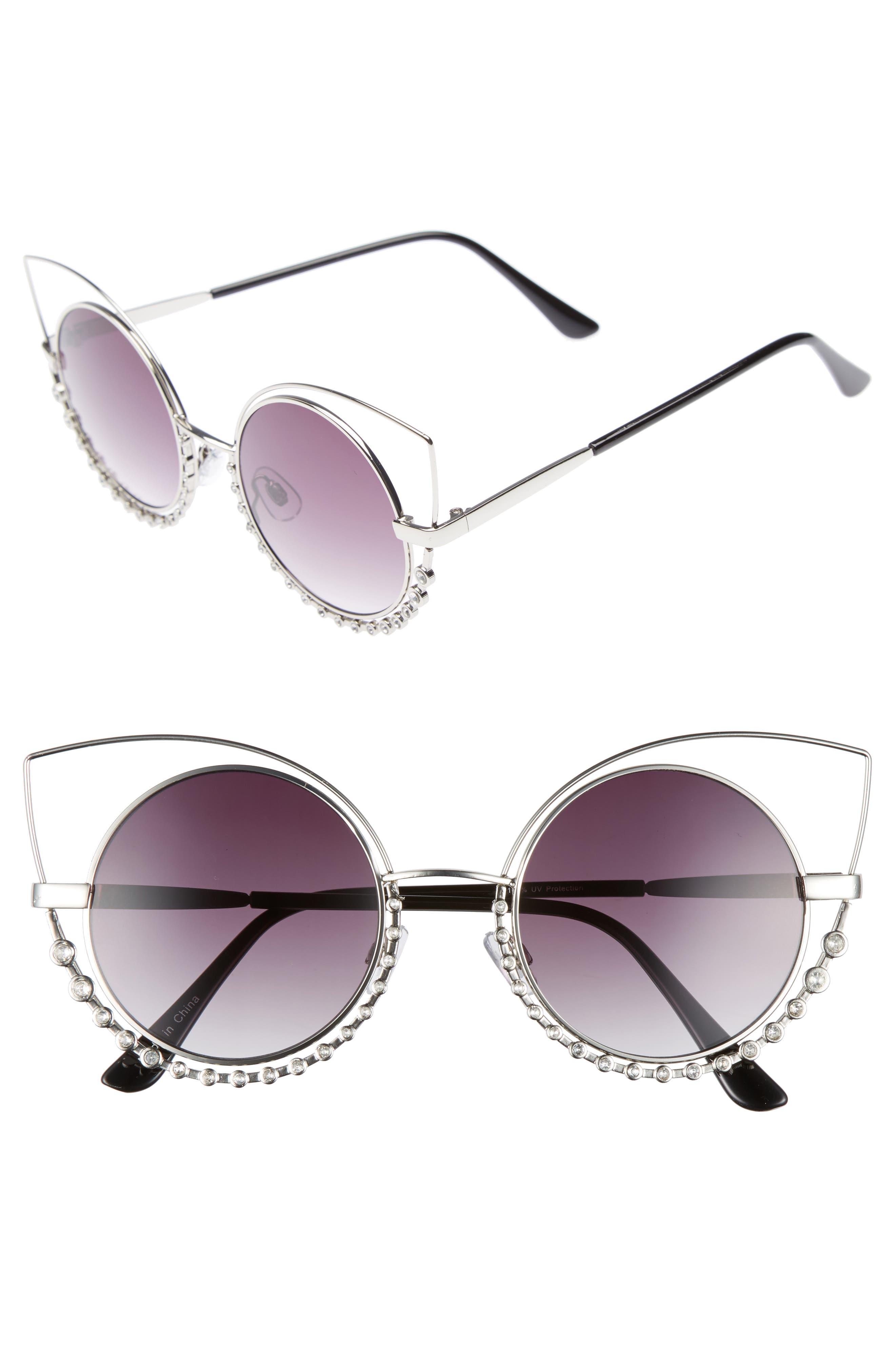 BP. 55mm Studded Round Sunglasses