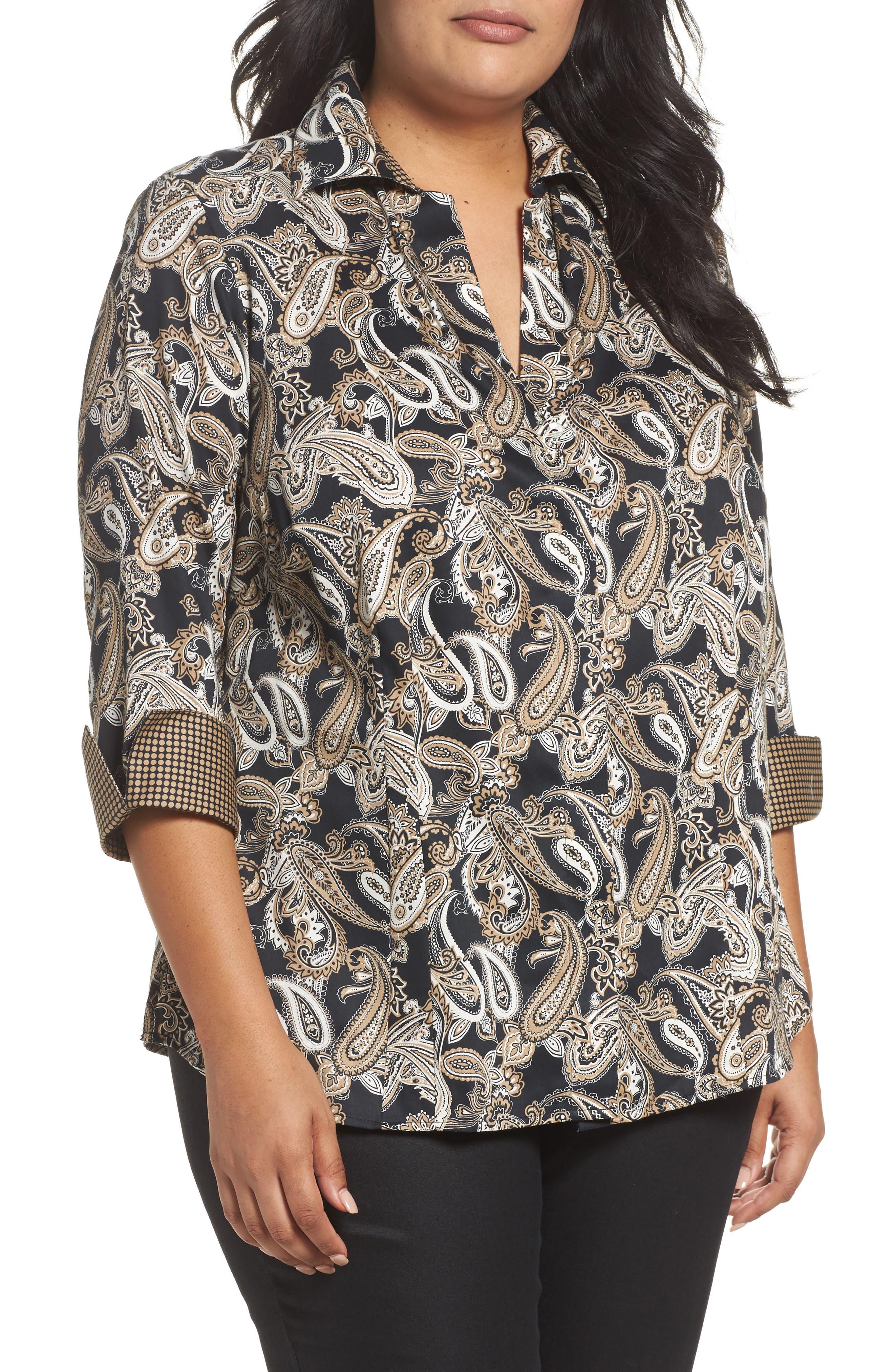 Foxcroft Taylor Three-Quarter Sleeve Non-Iron Cotton Shirt (Plus Size)