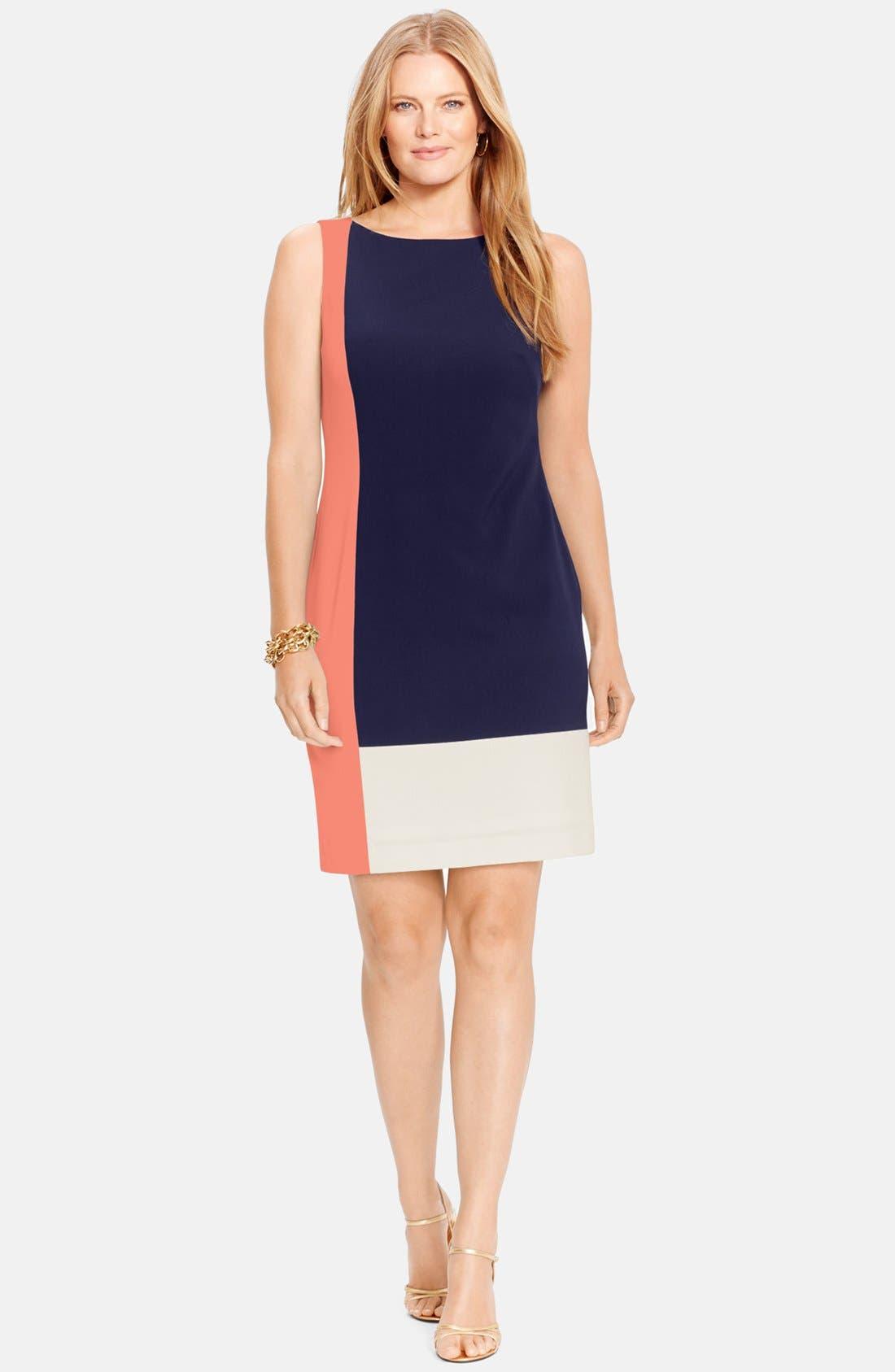 Main Image - Lauren Ralph Lauren Colorblock Sleeveless Sheath Dress (Plus Size)