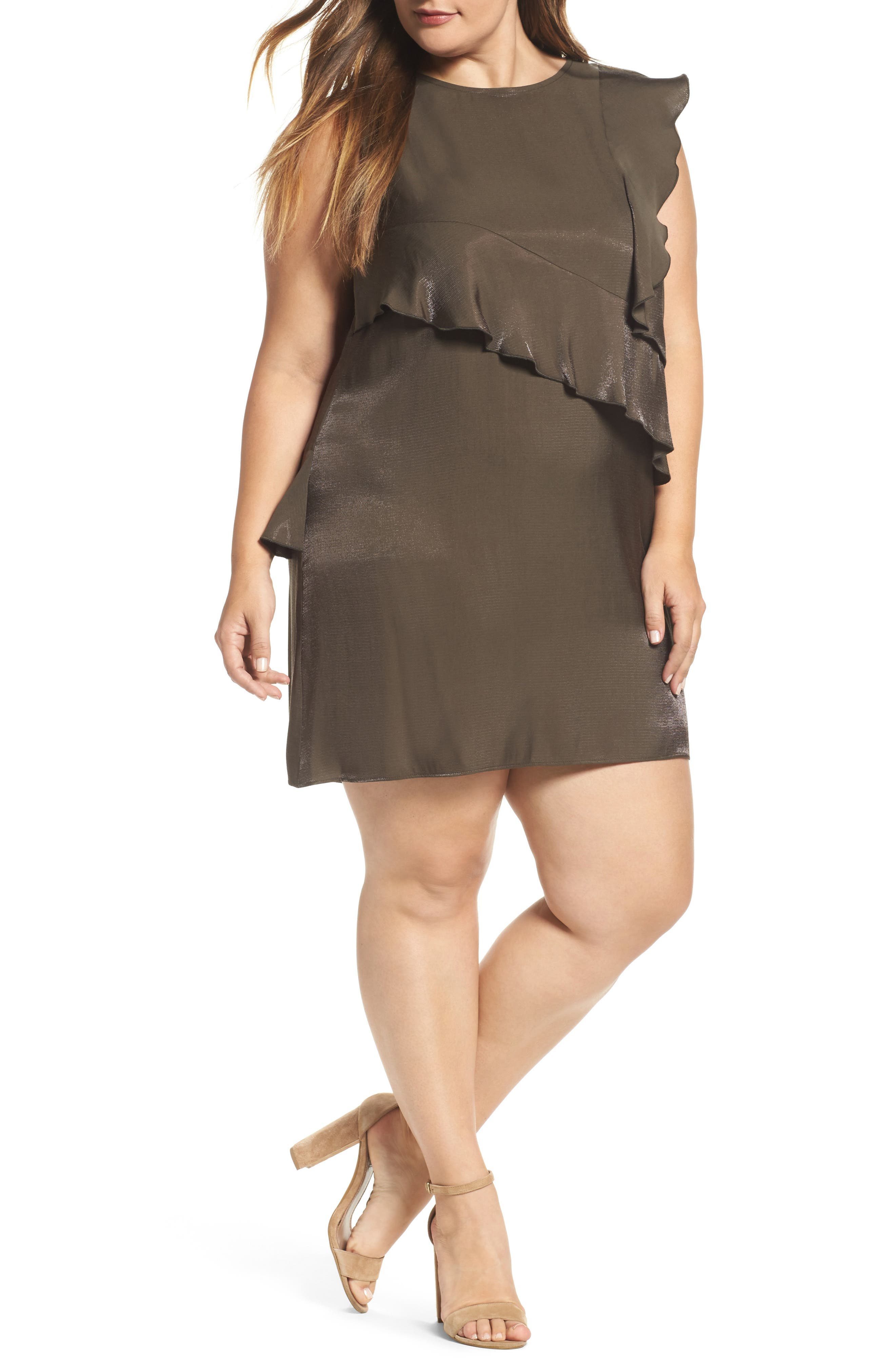 ELVI Ruffle Shift Dress (Plus Size)