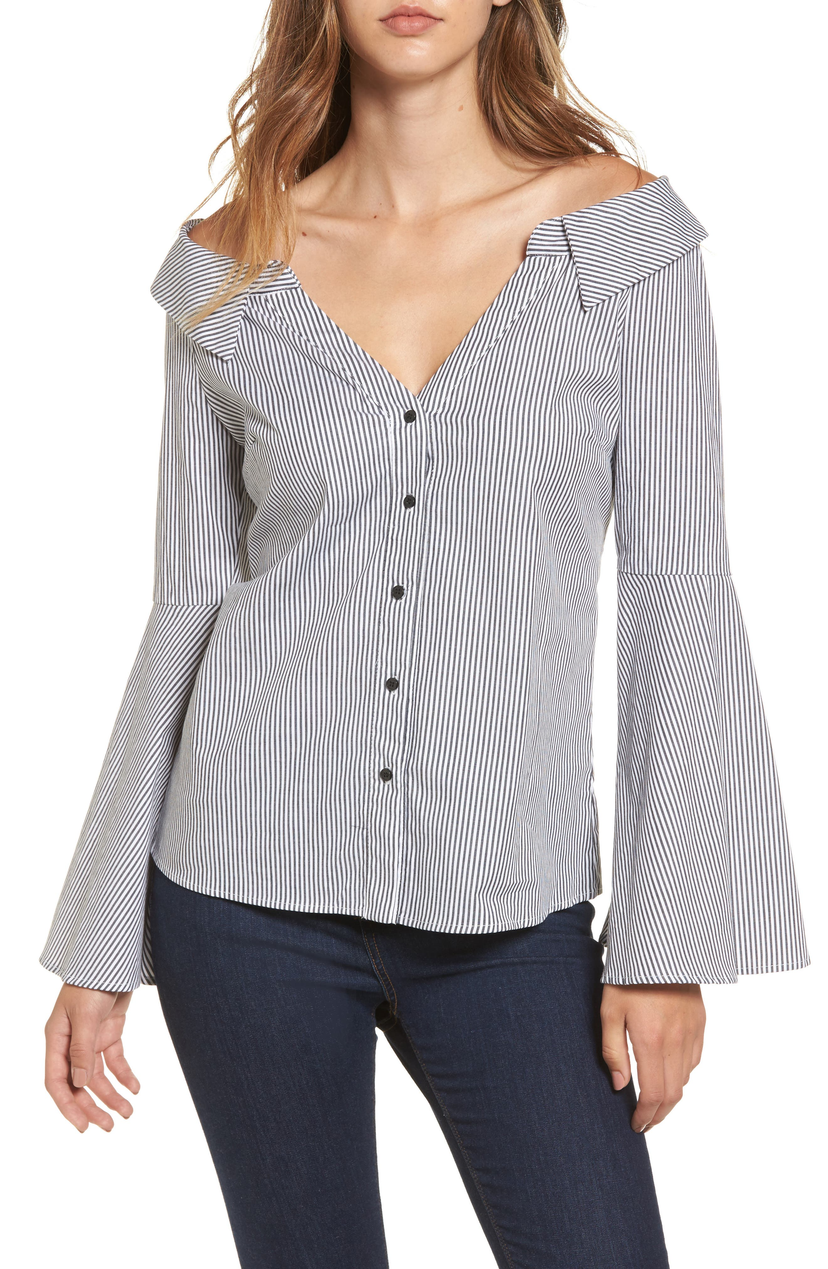 Socialite Stripe Portrait Neck Top