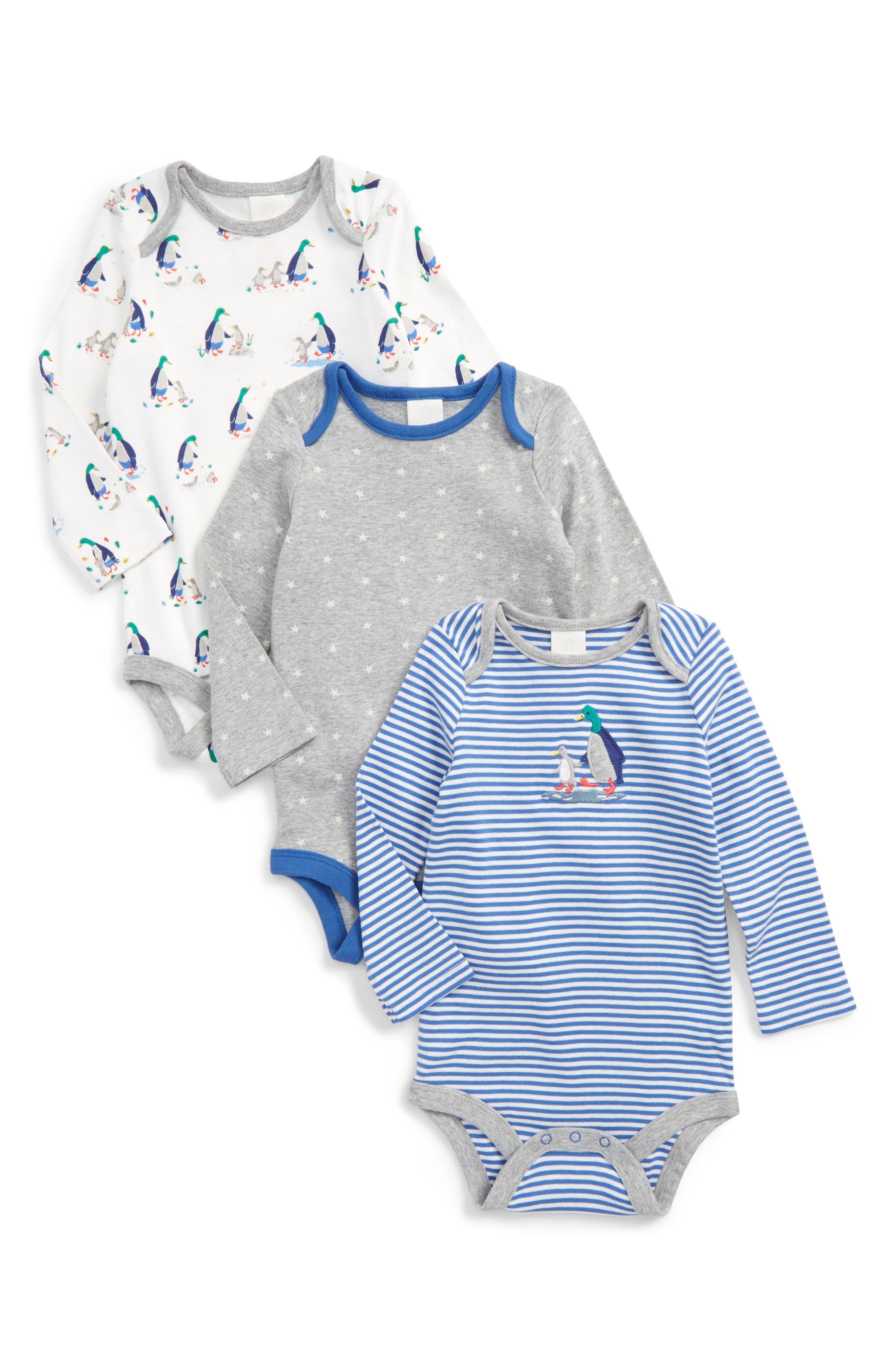 Mini Boden Mr. Mallard 3-Pack Bodysuits (Baby Boys)