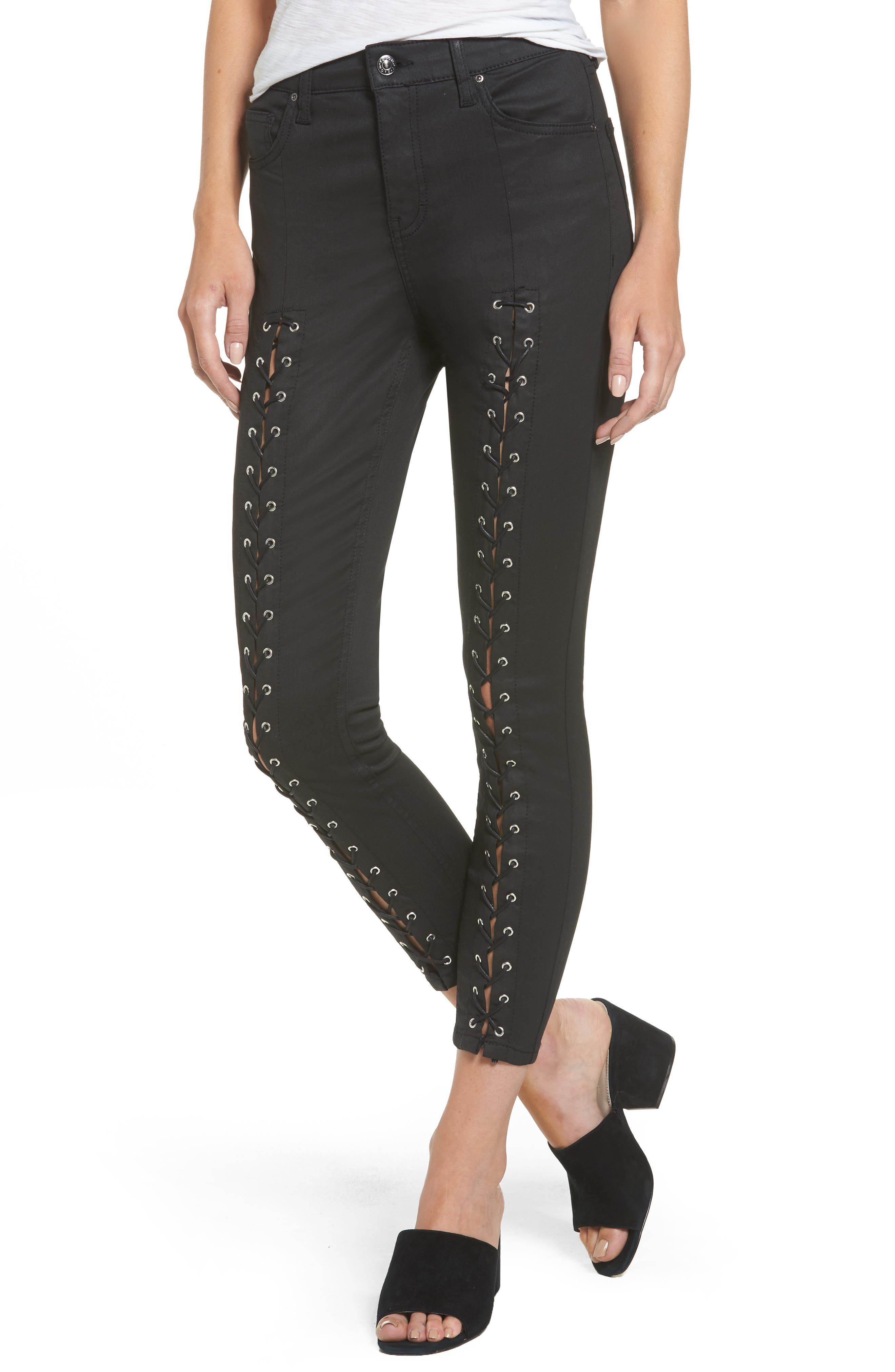 Topshop Jamie Coated Lace-Up Skinny Jeans