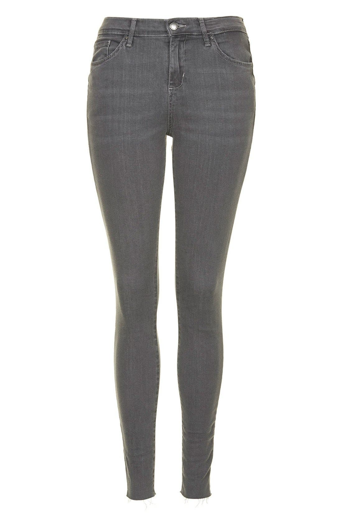 Alternate Image 3  - Topshop Moto 'Leigh' Ankle Skinny Jeans (Grey) (Regular & Short)